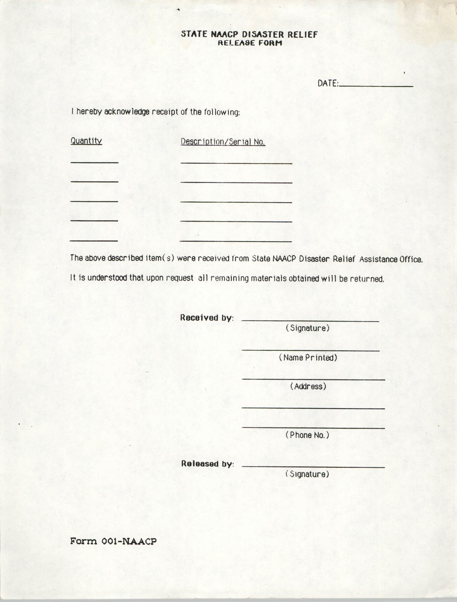 State NAACP Disaster Relief, Hurricane Huge Release Form, 1989, Page 19