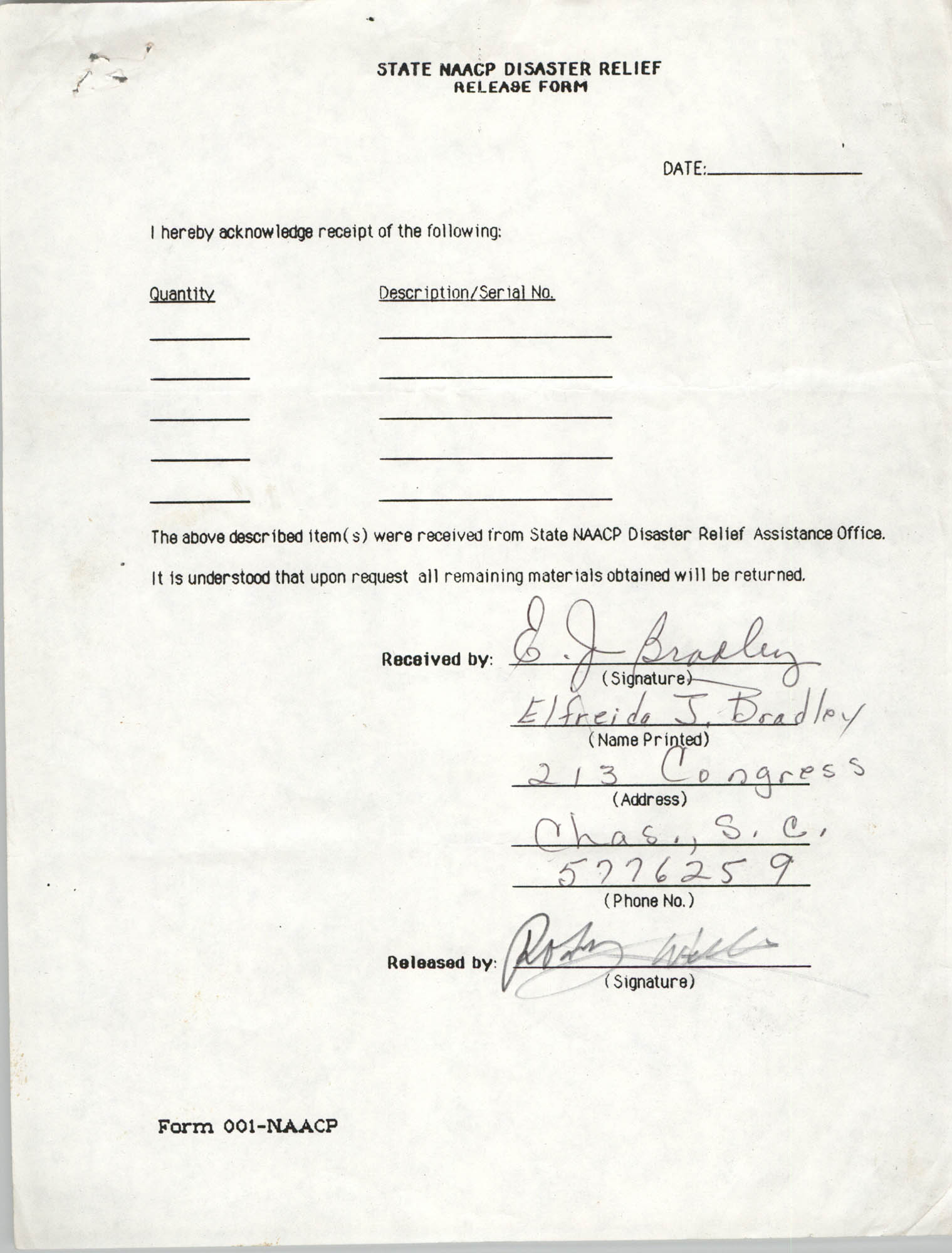 State NAACP Disaster Relief, Hurricane Huge Release Form, 1989, Page 20