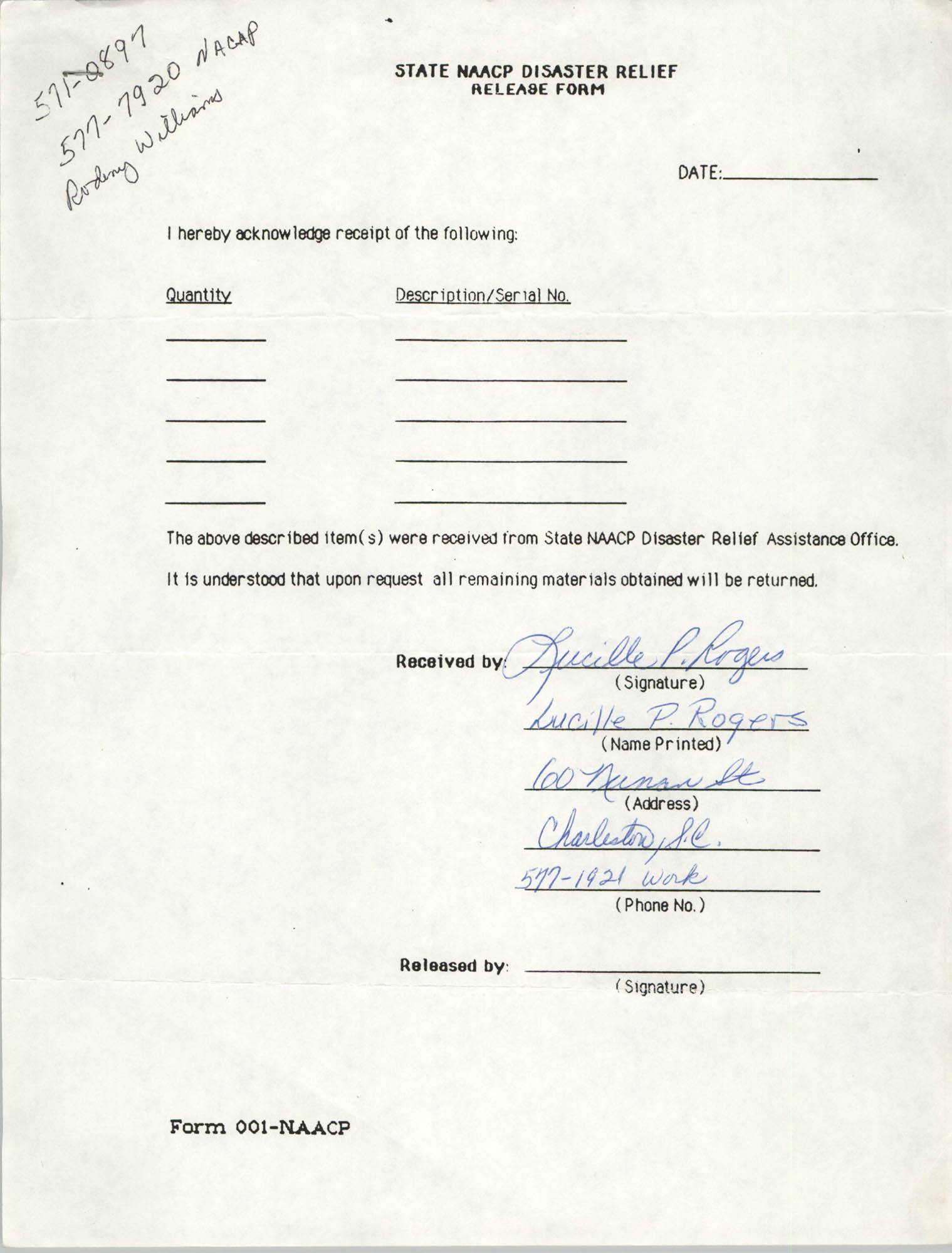State NAACP Disaster Relief, Hurricane Huge Release Form, 1989, Page 21