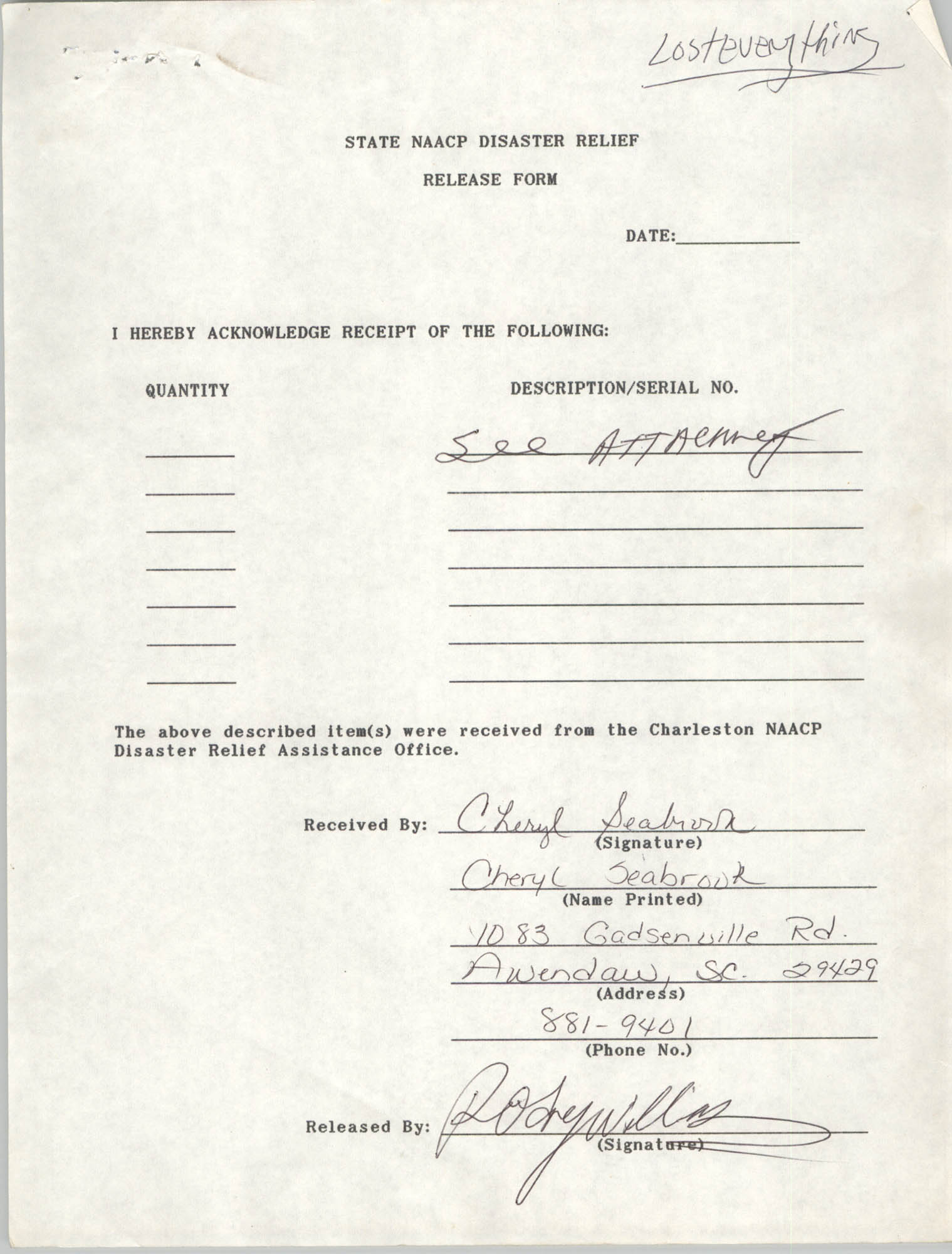 State NAACP Disaster Relief, Hurricane Huge Release Form, 1989, Page 22
