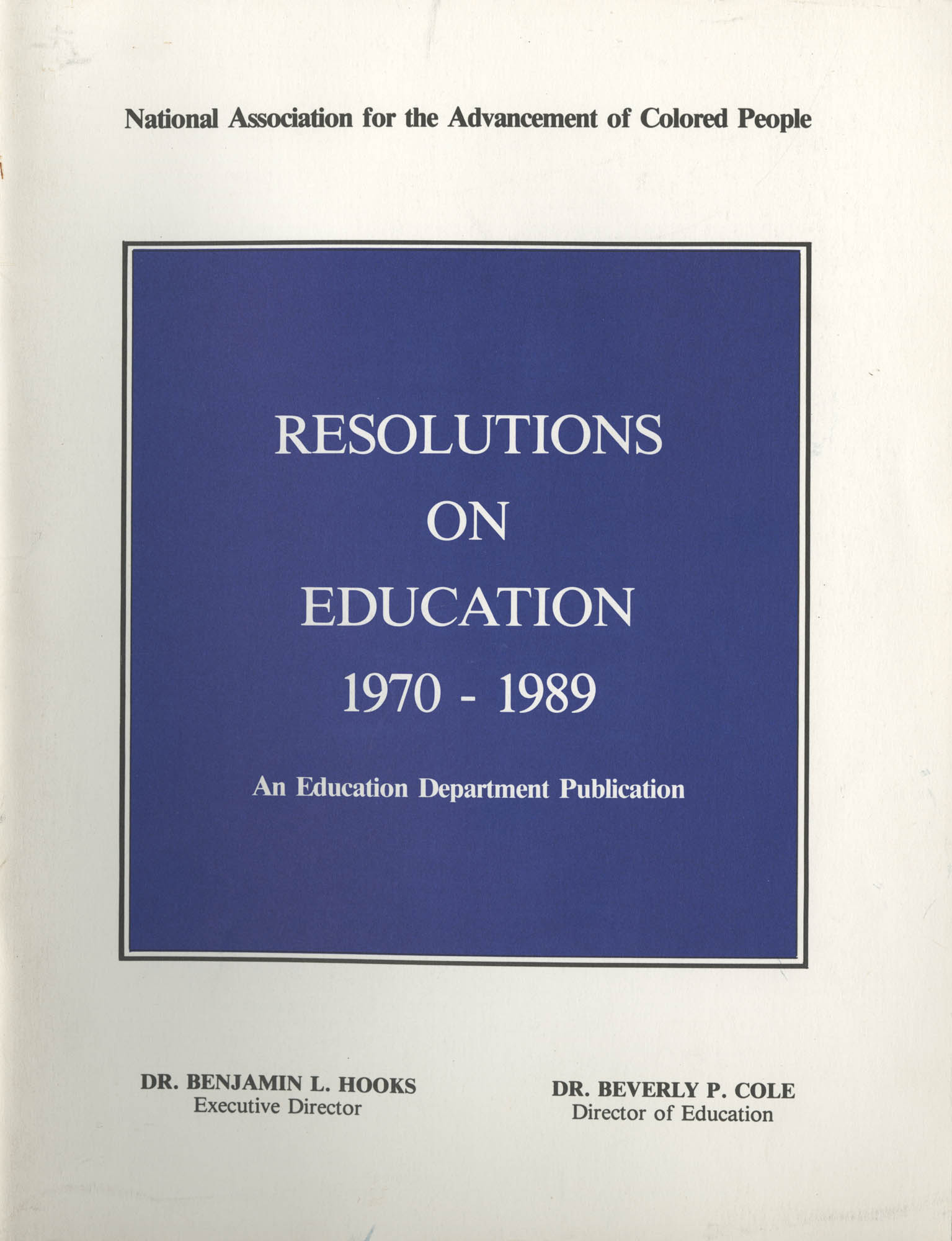 NAACP Resolutions on Education, 1970-1989, Front Cover