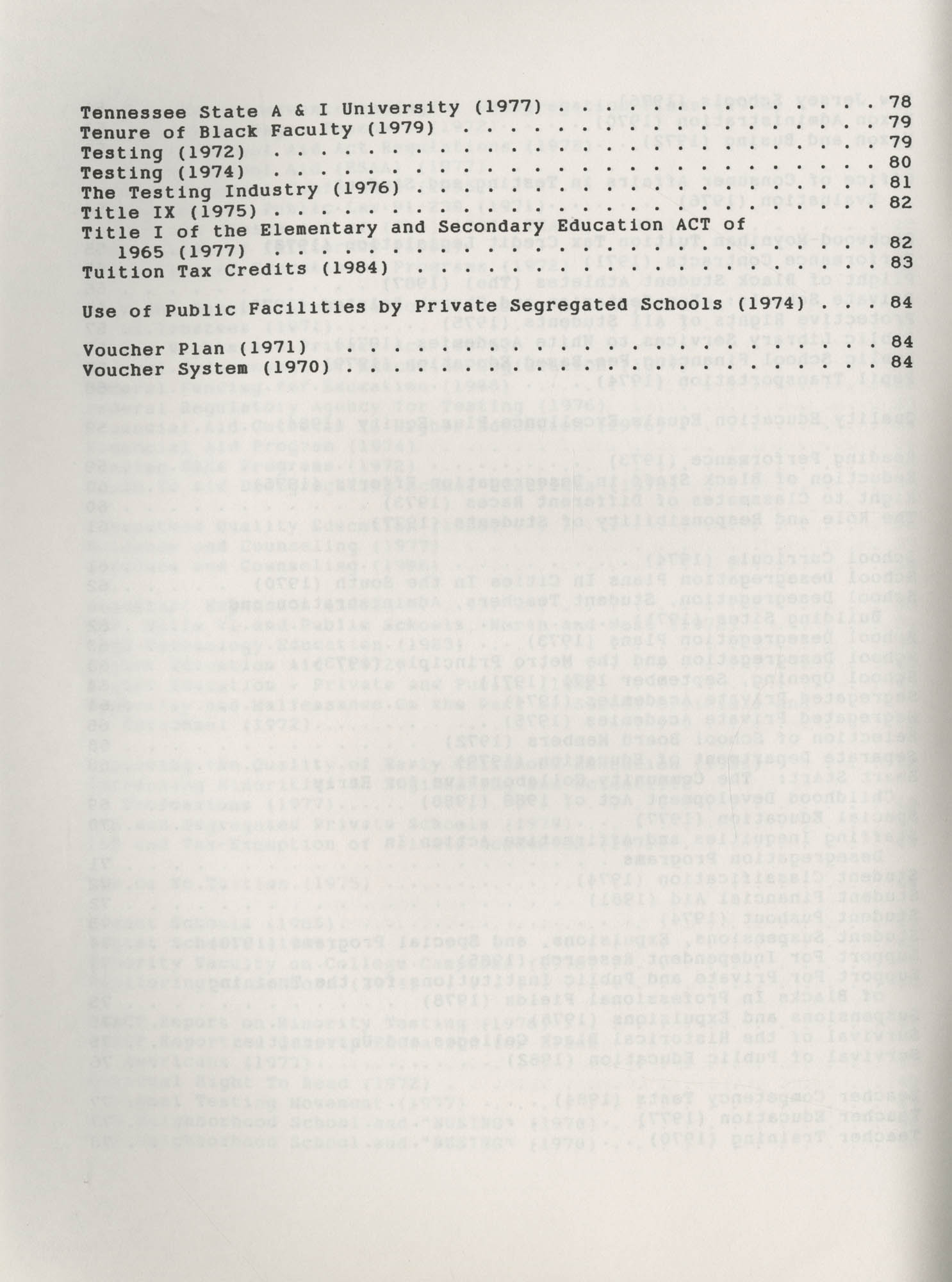 NAACP Resolutions on Education, 1970-1989, Index to Education Resolutions, Table of Contents, Page 4