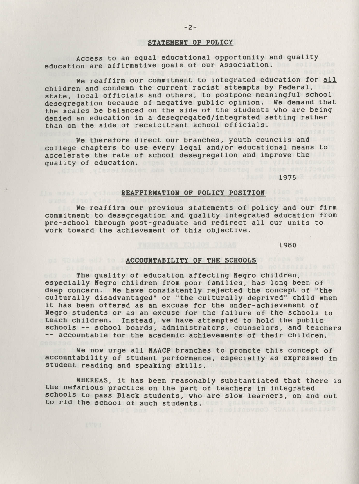 NAACP Resolutions on Education, 1970-1989, Index to Education Resolutions, Page 2