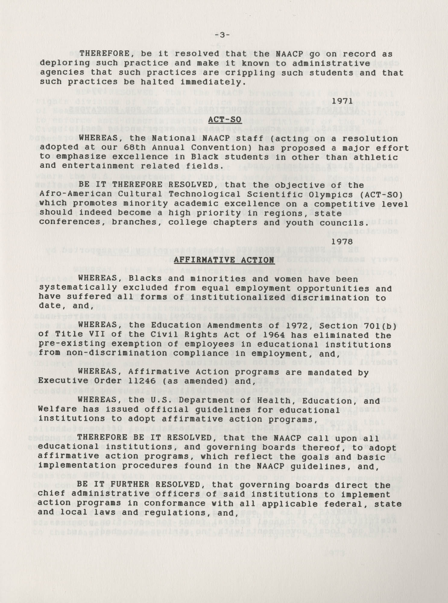NAACP Resolutions on Education, 1970-1989, Index to Education Resolutions, Page 3