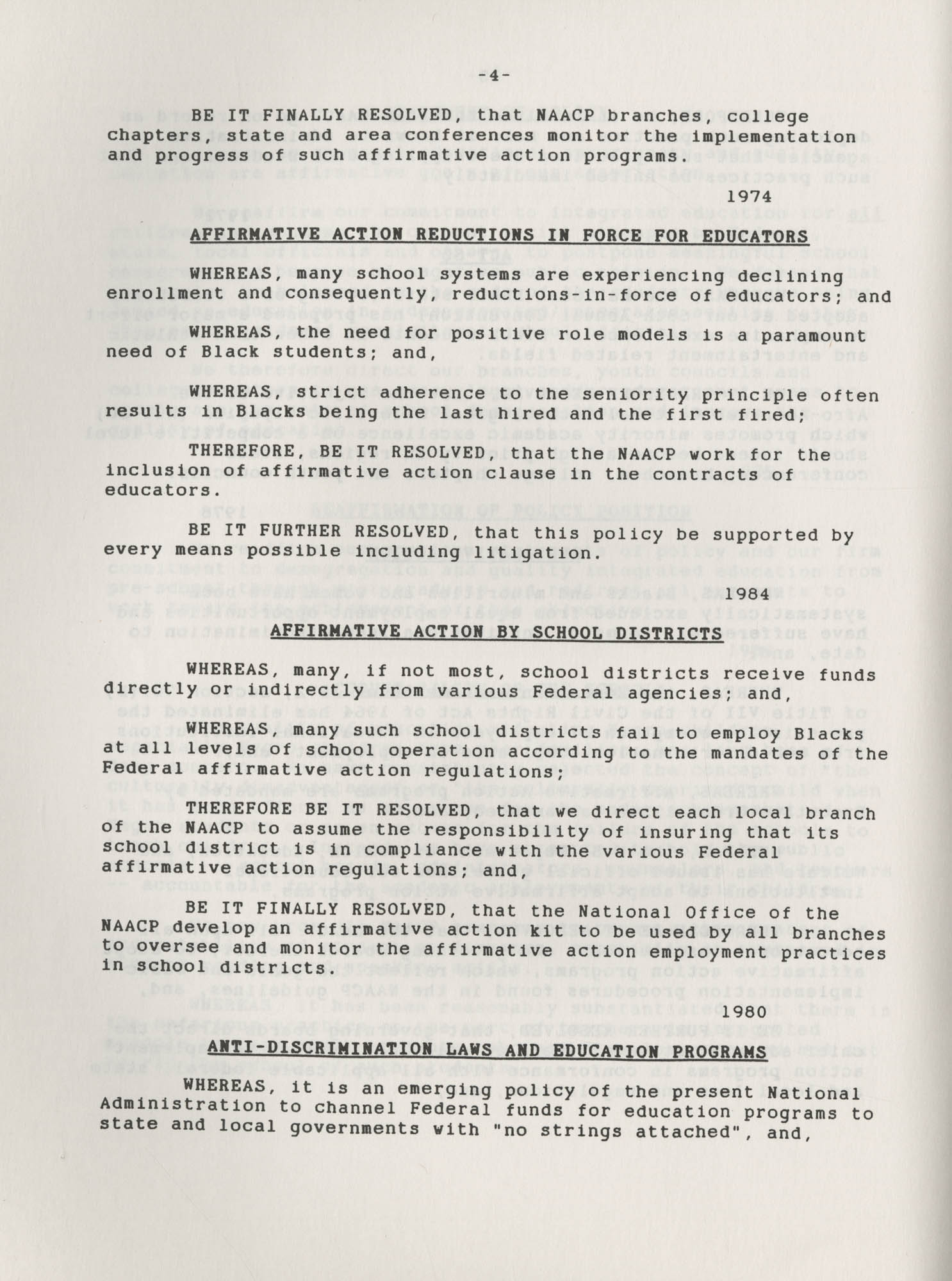 NAACP Resolutions on Education, 1970-1989, Index to Education Resolutions, Page 4