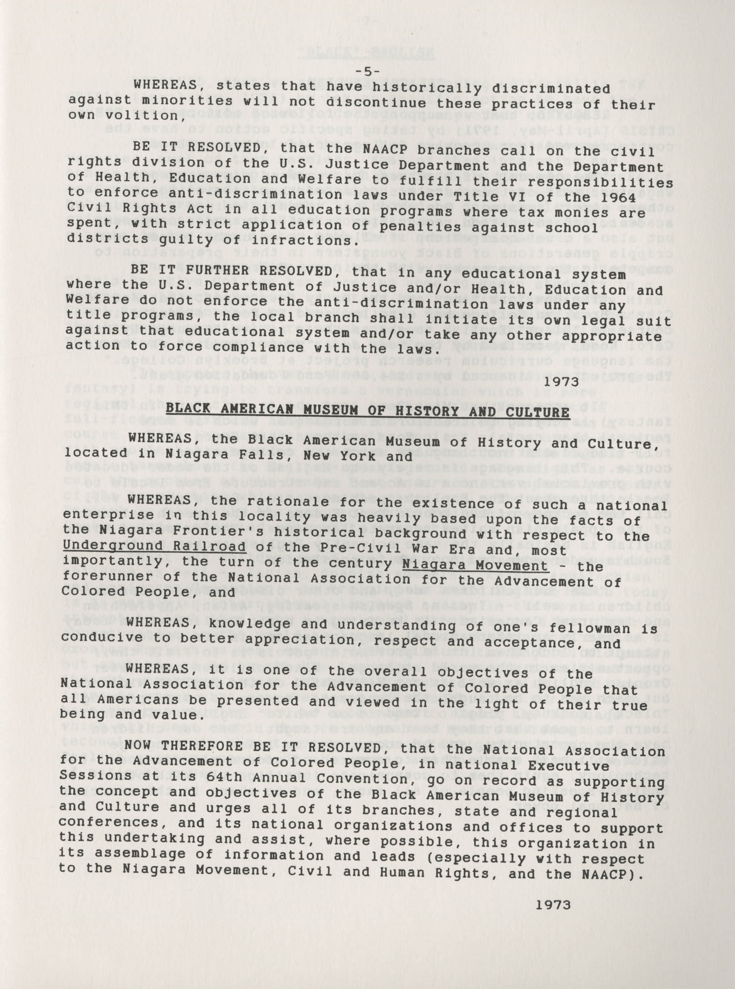 NAACP Resolutions on Education, 1970-1989, Index to Education Resolutions, Page 5