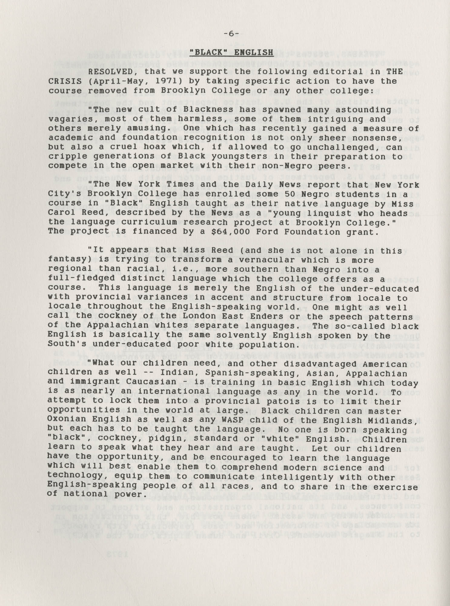 NAACP Resolutions on Education, 1970-1989, Index to Education Resolutions, Page 6
