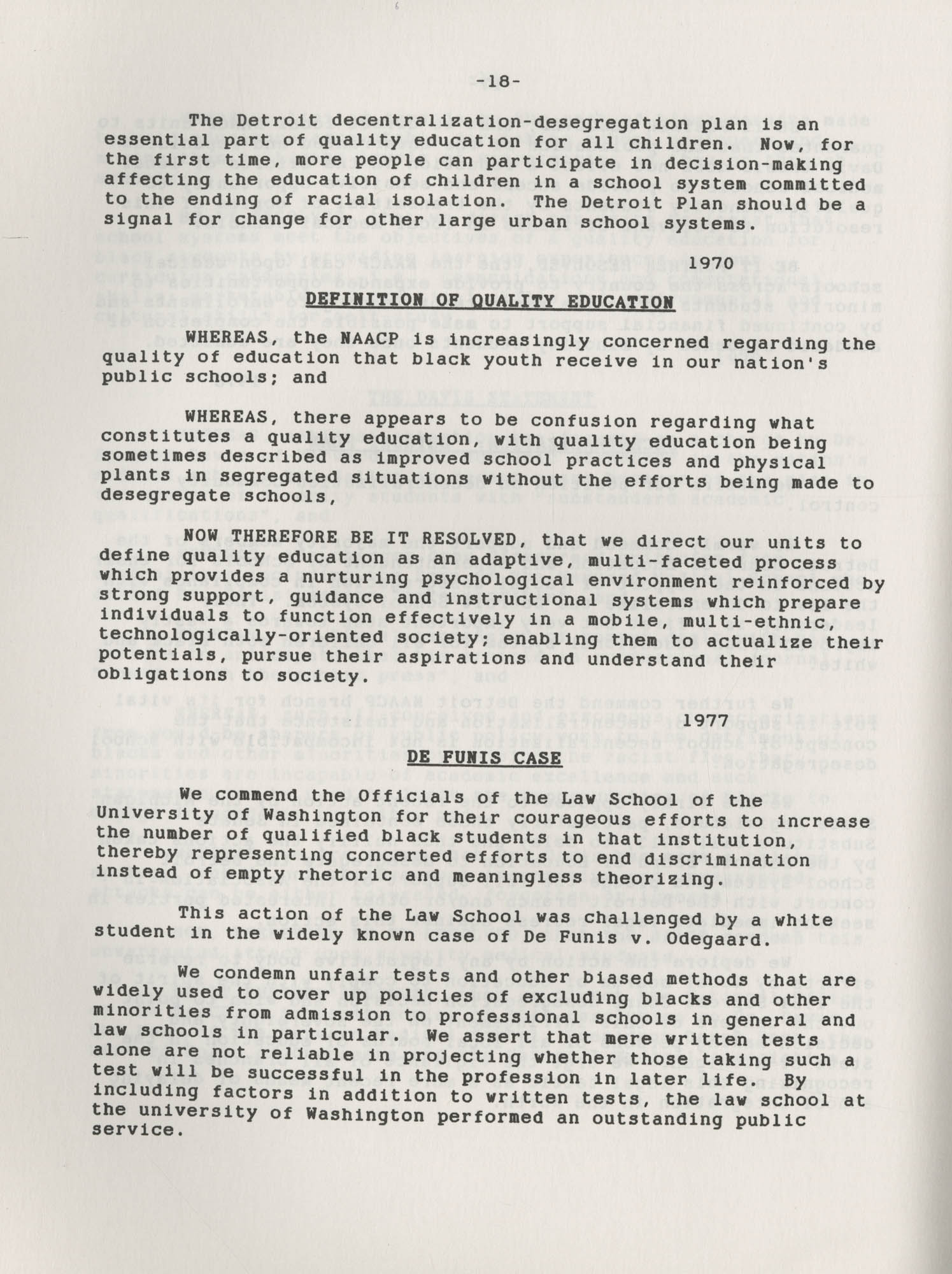 NAACP Resolutions on Education, 1970-1989, Index to Education Resolutions, Page 18