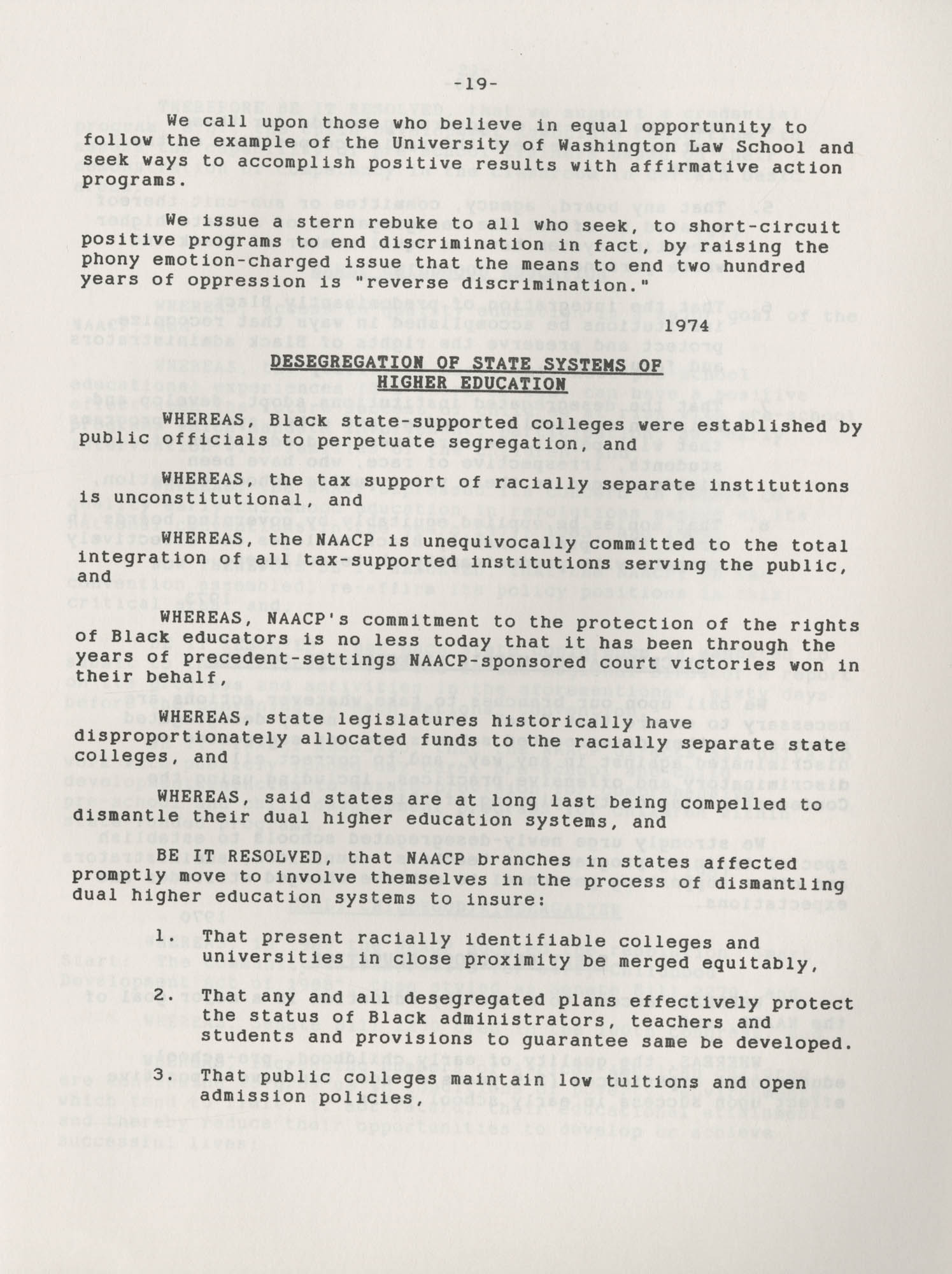 NAACP Resolutions on Education, 1970-1989, Index to Education Resolutions, Page 19