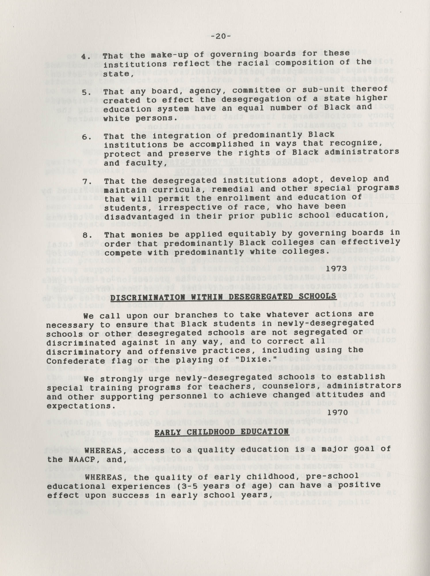 NAACP Resolutions on Education, 1970-1989, Index to Education Resolutions, Page 20