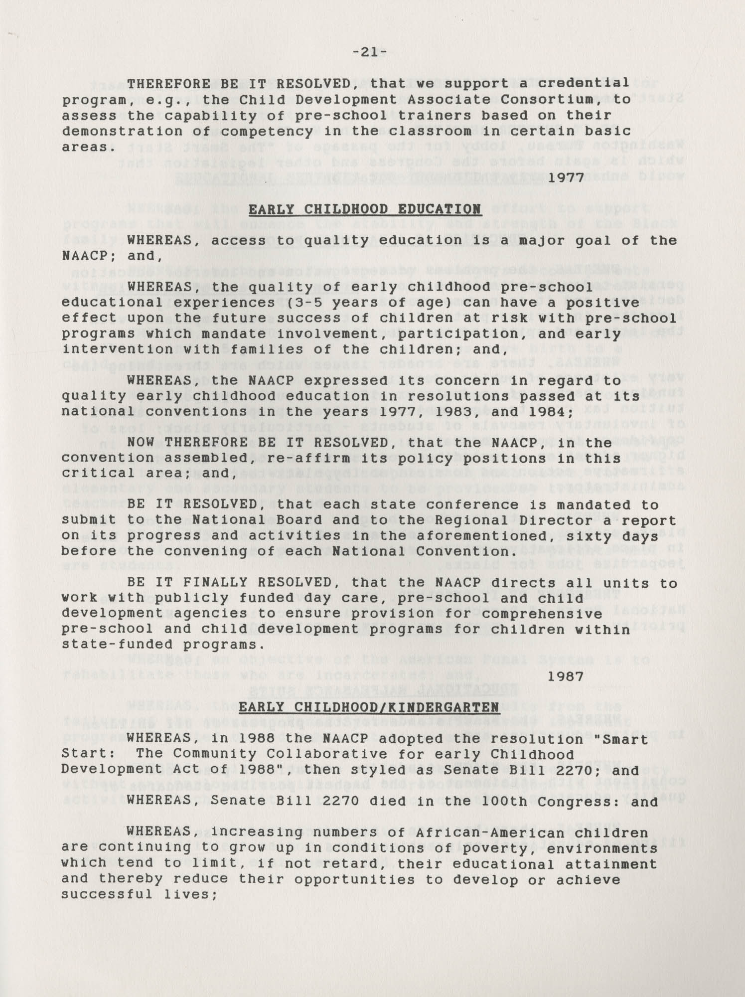 NAACP Resolutions on Education, 1970-1989, Index to Education Resolutions, Page 21