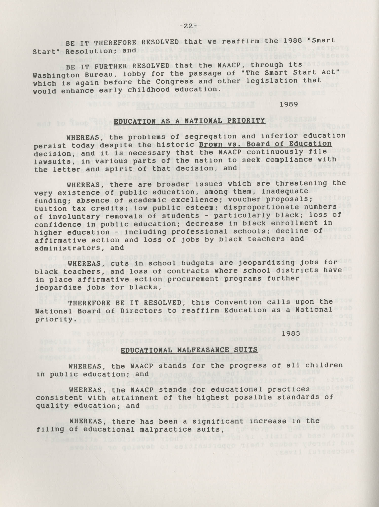 NAACP Resolutions on Education, 1970-1989, Index to Education Resolutions, Page 22