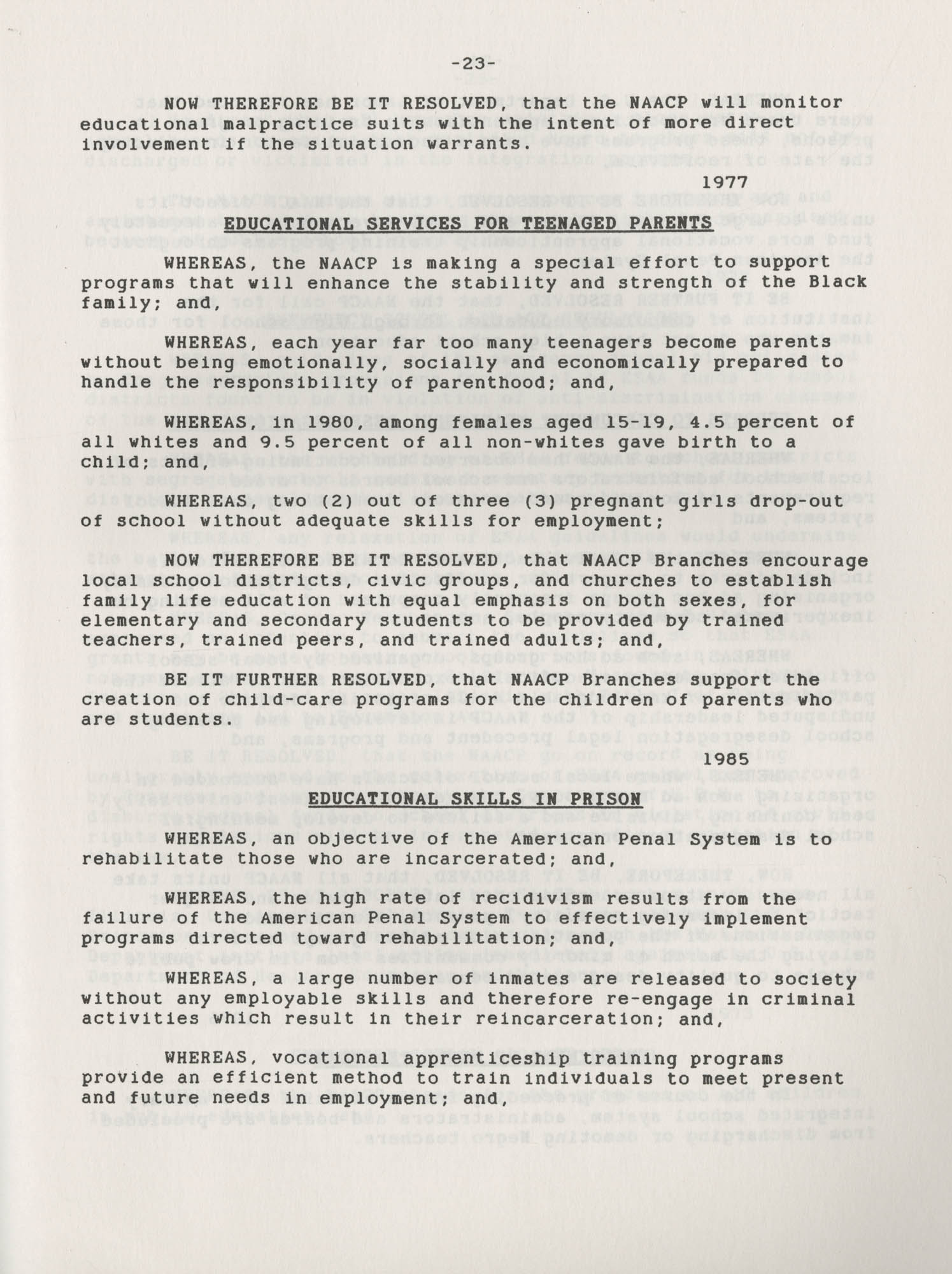 NAACP Resolutions on Education, 1970-1989, Index to Education Resolutions, Page 23