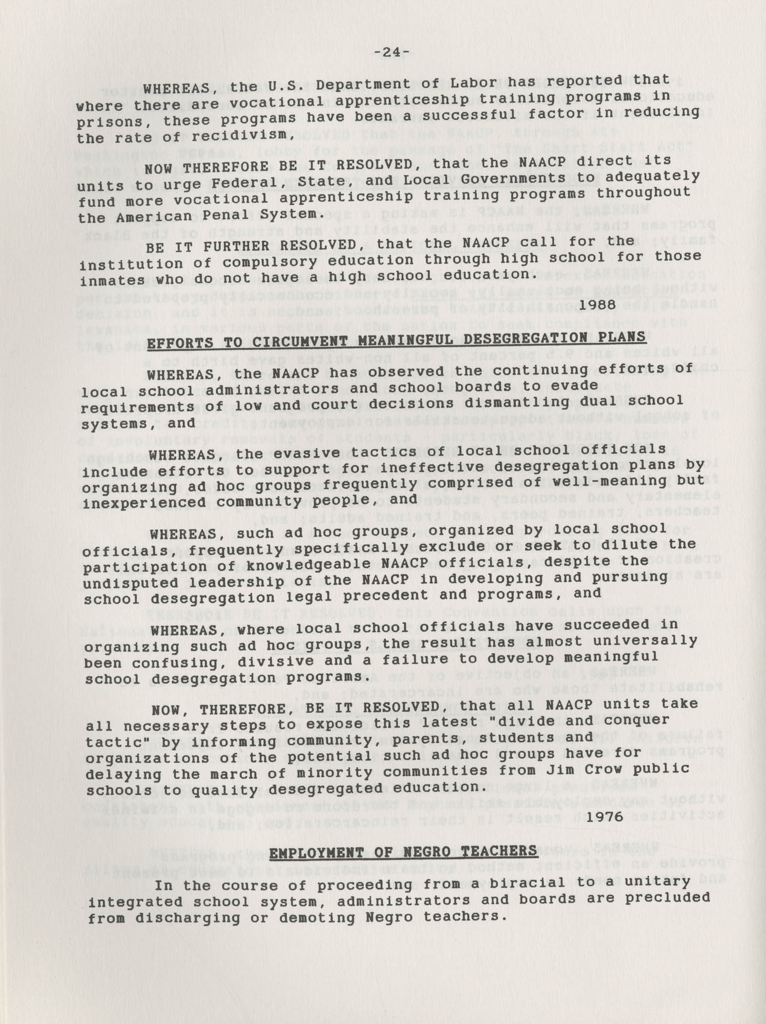 NAACP Resolutions on Education, 1970-1989, Index to Education Resolutions, Page 24