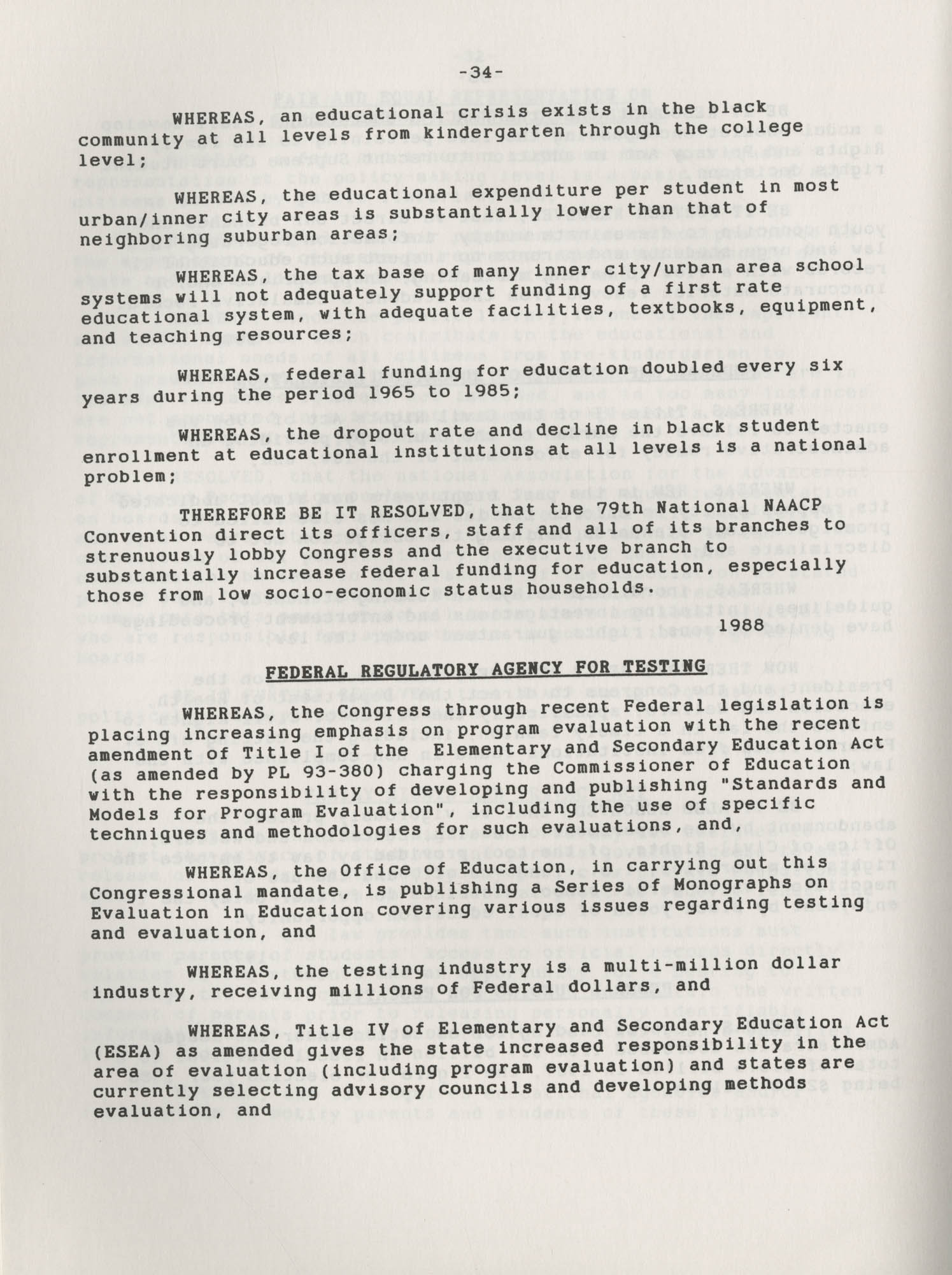 NAACP Resolutions on Education, 1970-1989, Index to Education Resolutions, Page 34