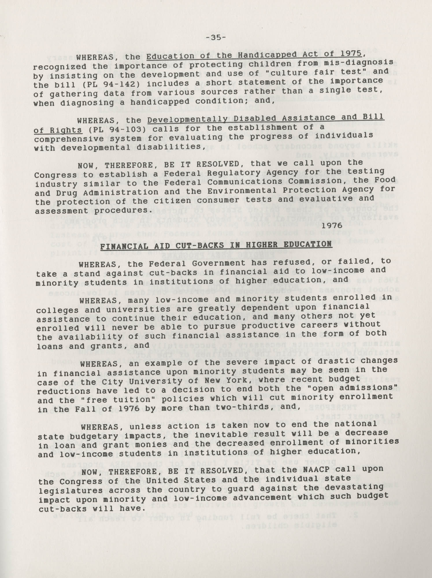 NAACP Resolutions on Education, 1970-1989, Index to Education Resolutions, Page 35