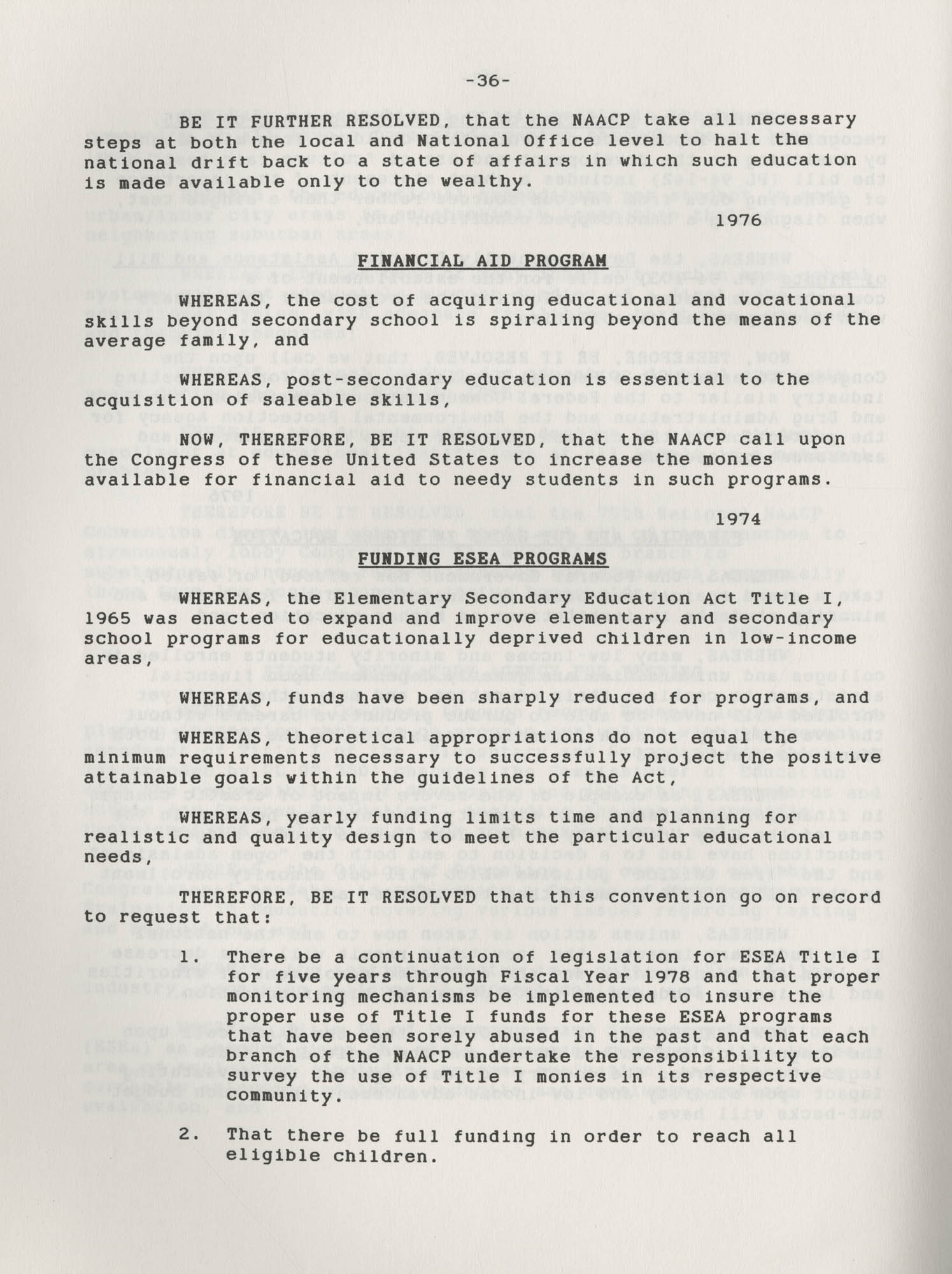 NAACP Resolutions on Education, 1970-1989, Index to Education Resolutions, Page 36