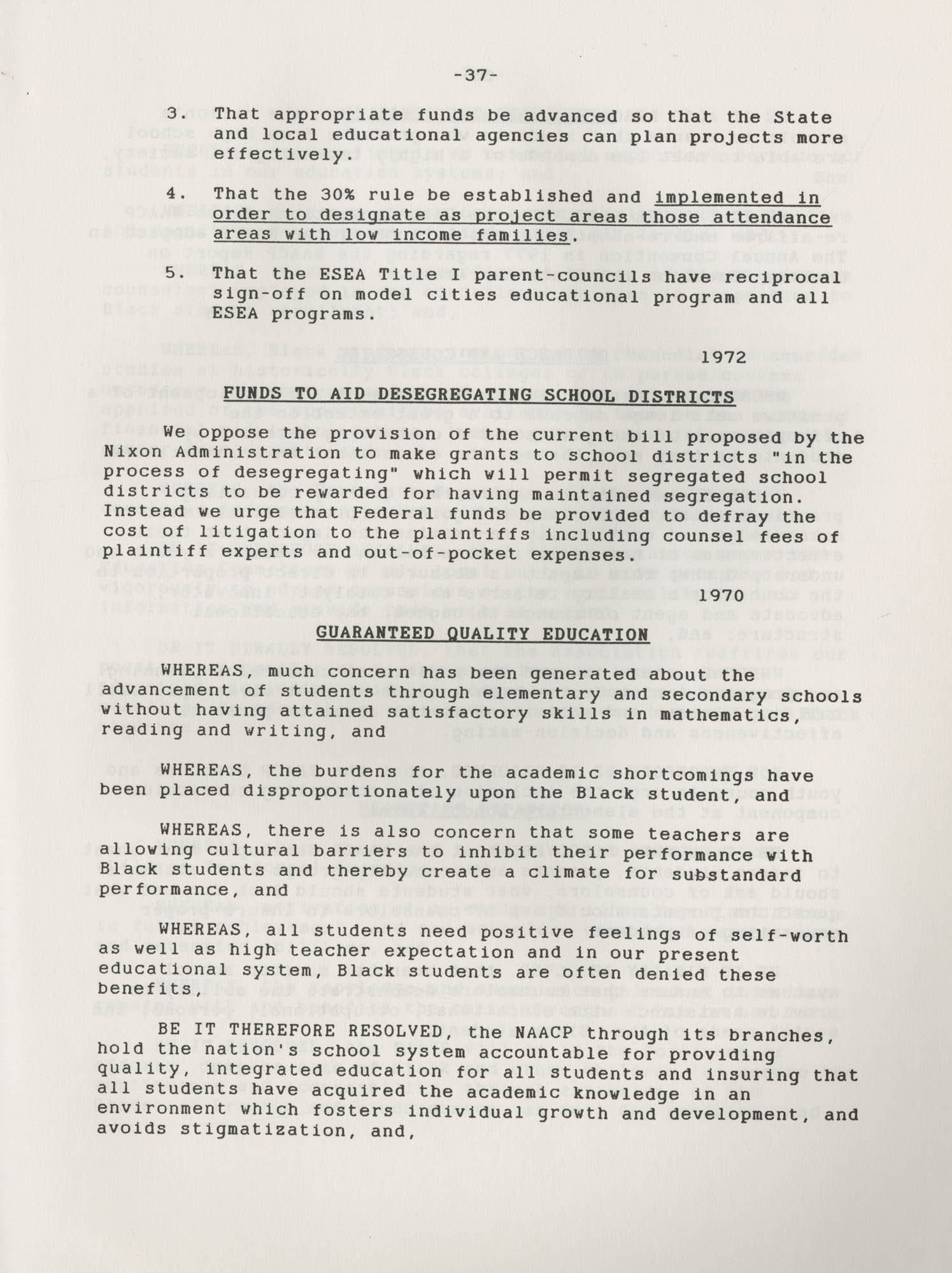 NAACP Resolutions on Education, 1970-1989, Index to Education Resolutions, Page 37