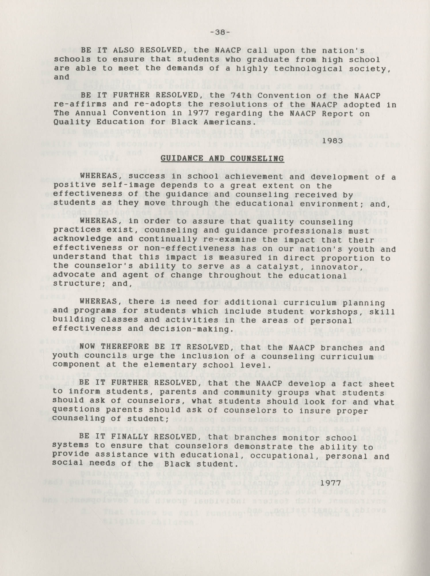 NAACP Resolutions on Education, 1970-1989, Index to Education Resolutions, Page 38