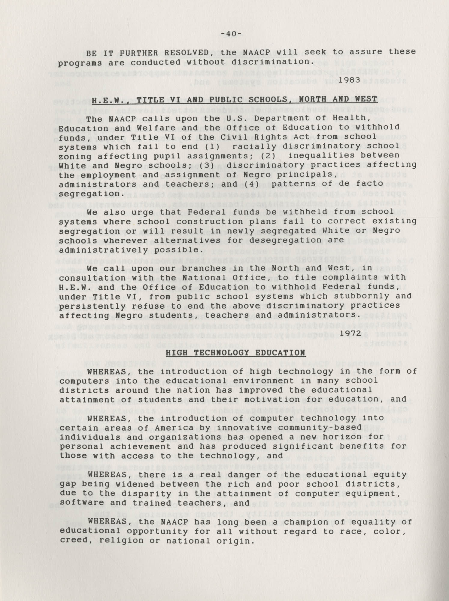 NAACP Resolutions on Education, 1970-1989, Index to Education Resolutions, Page 40