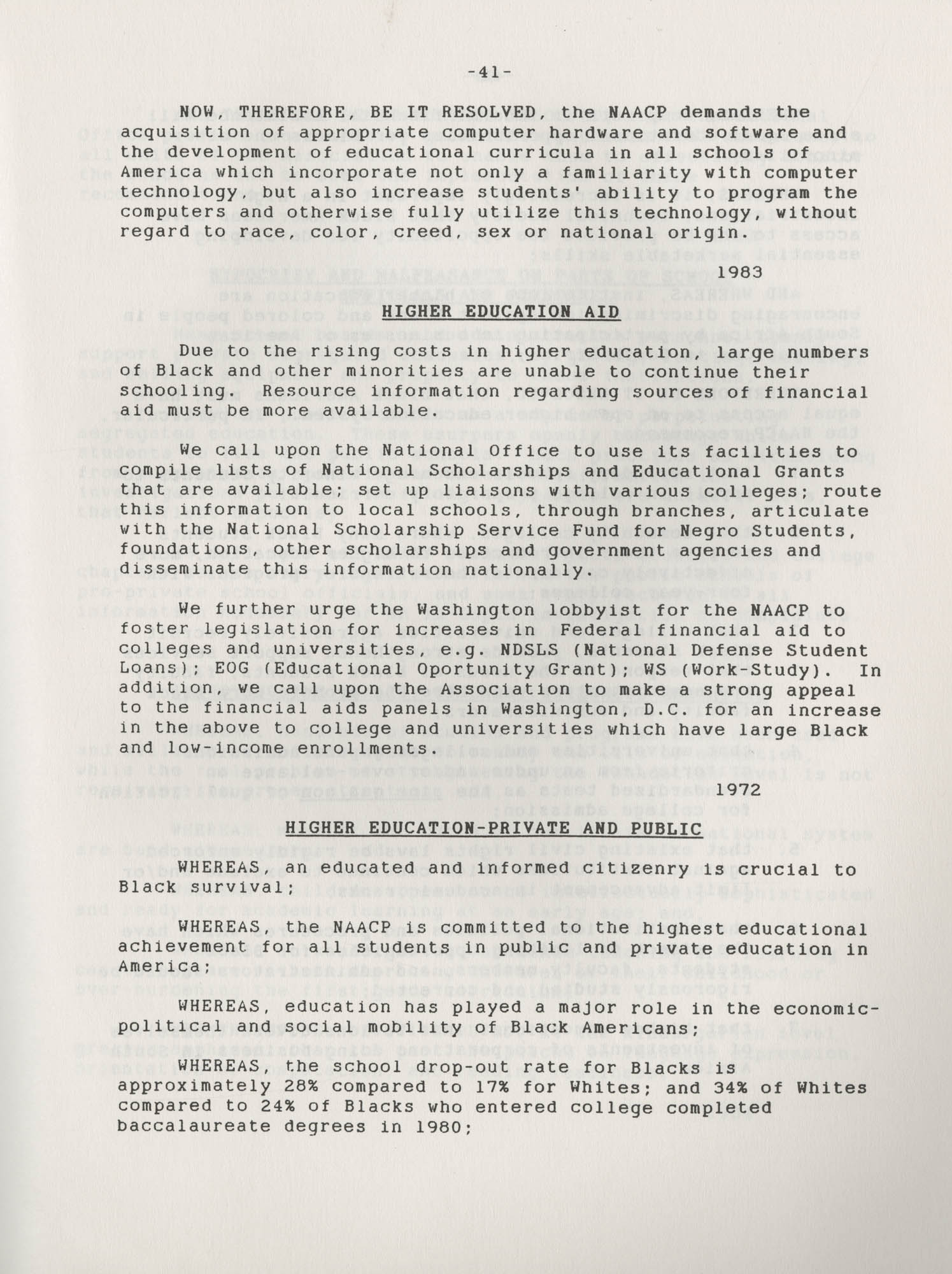 NAACP Resolutions on Education, 1970-1989, Index to Education Resolutions, Page 41
