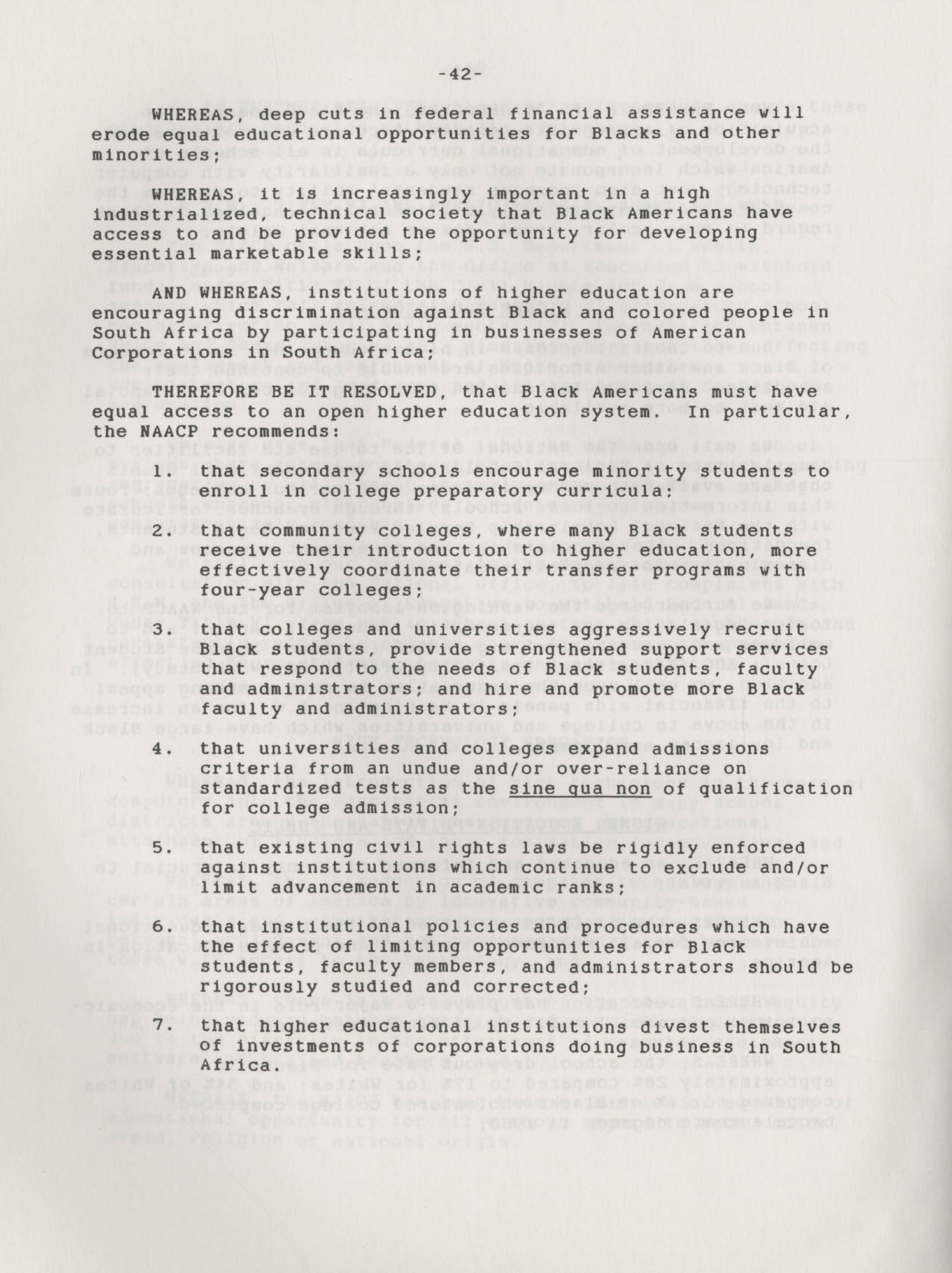 NAACP Resolutions on Education, 1970-1989, Index to Education Resolutions, Page 42
