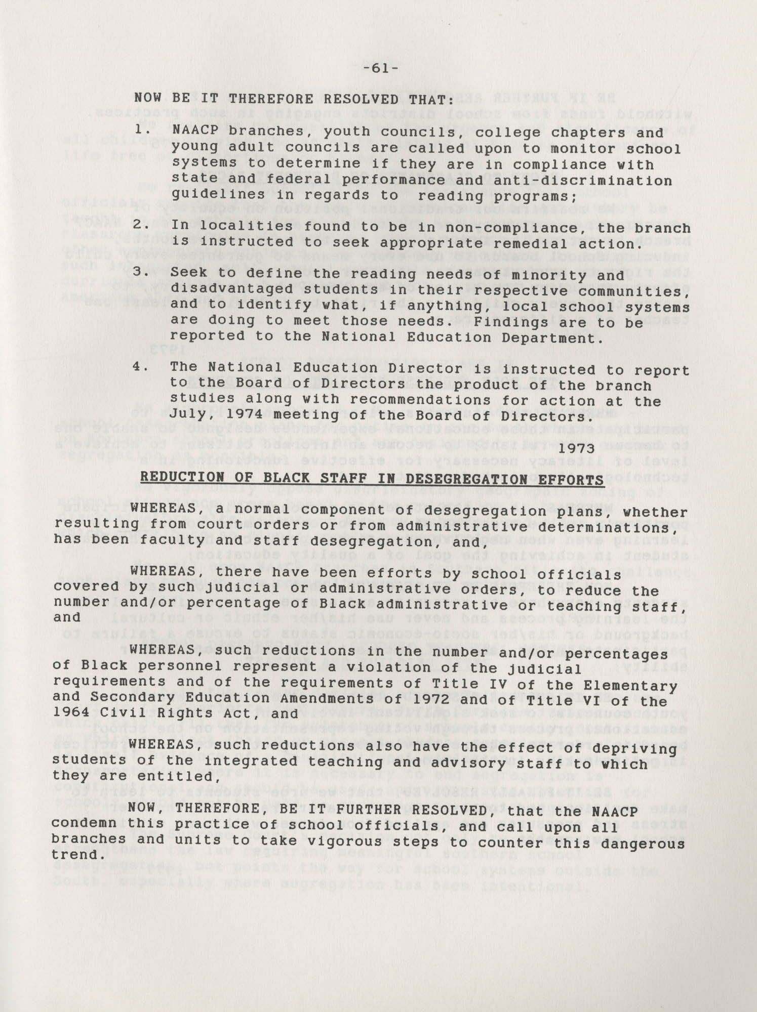 NAACP Resolutions on Education, 1970-1989, Index to Education Resolutions, Page 61