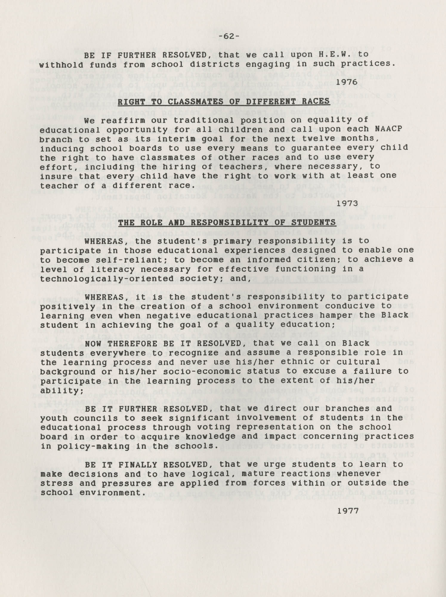NAACP Resolutions on Education, 1970-1989, Index to Education Resolutions, Page 62