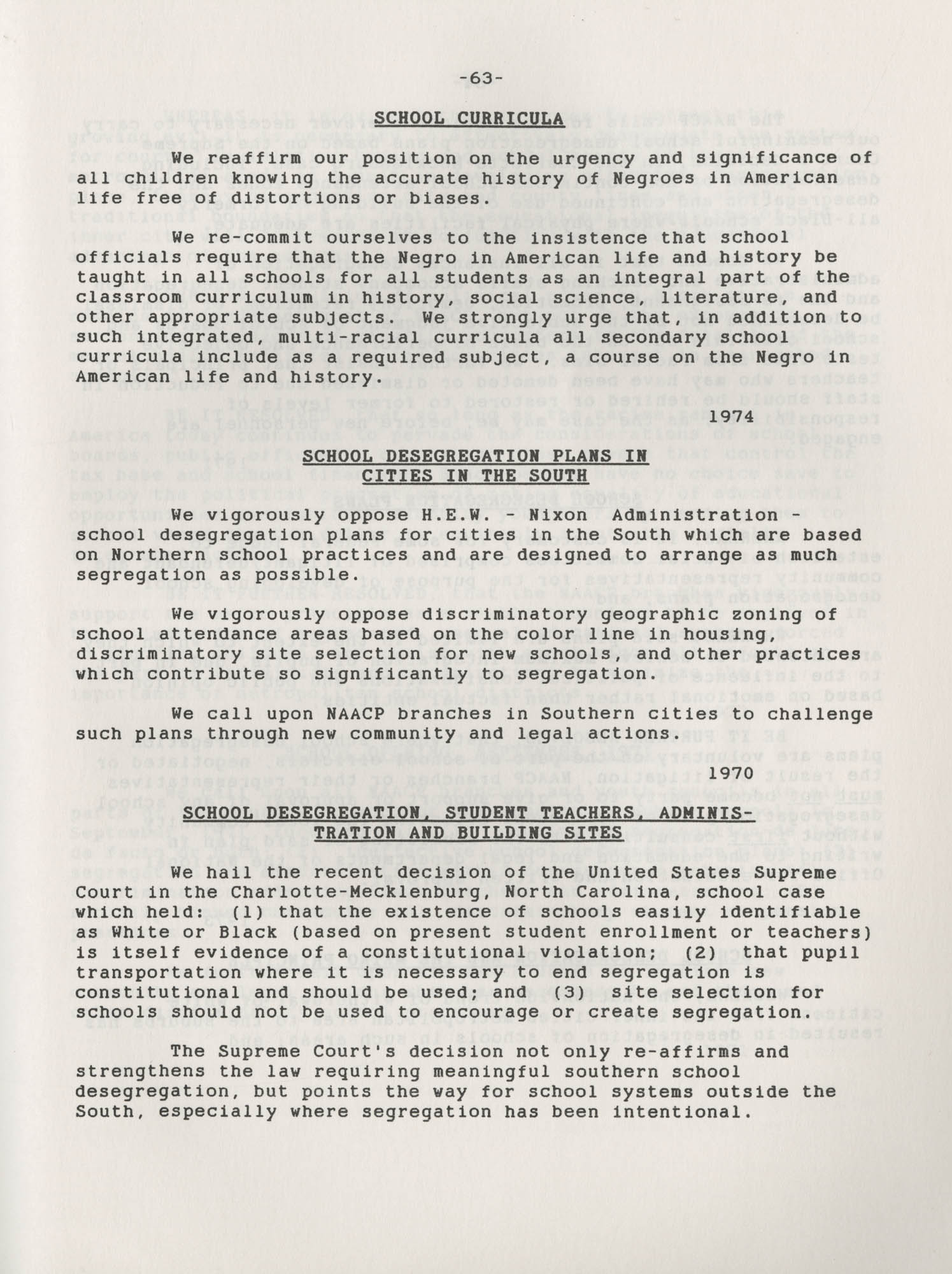 NAACP Resolutions on Education, 1970-1989, Index to Education Resolutions, Page 63