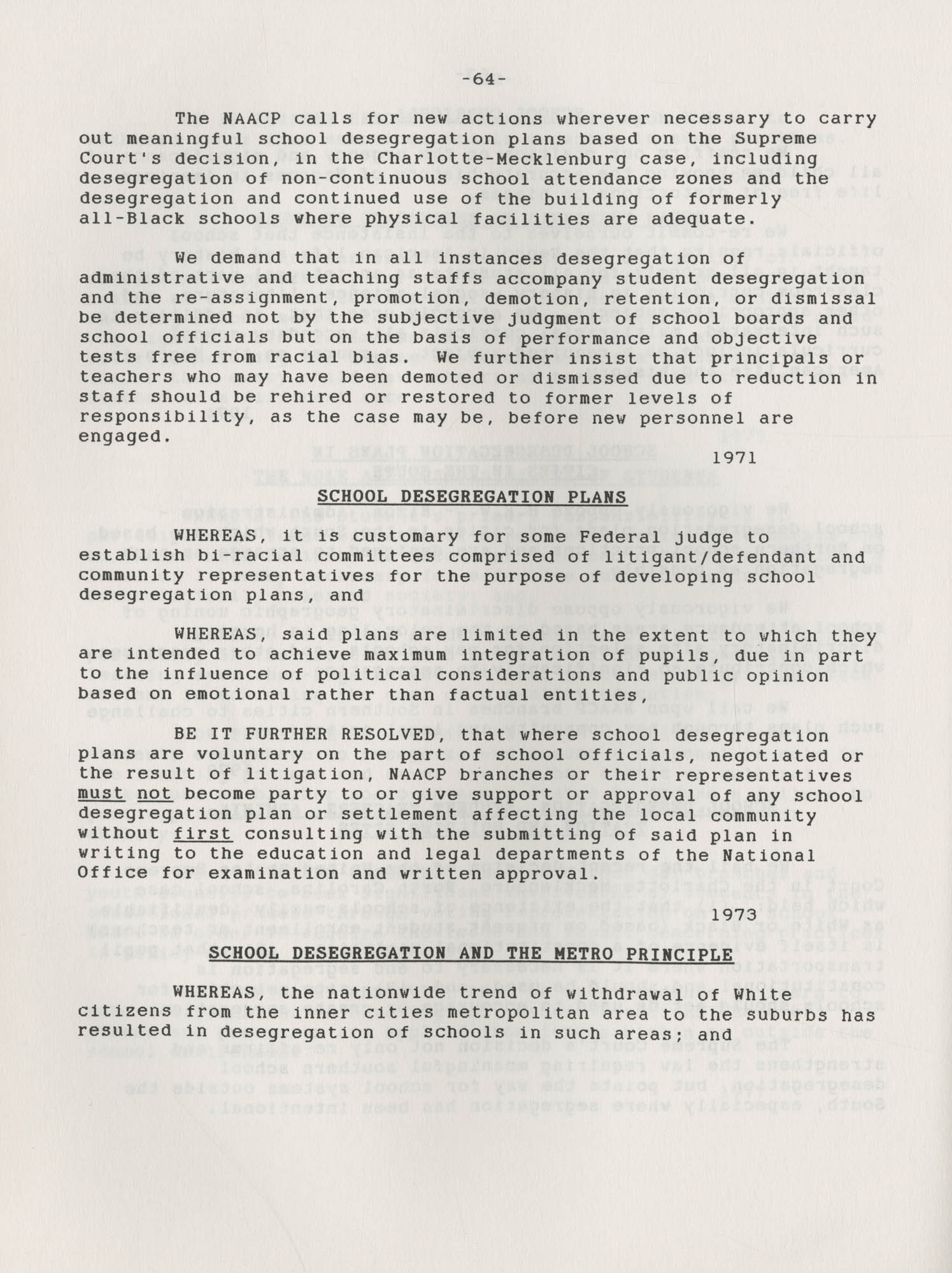 NAACP Resolutions on Education, 1970-1989, Index to Education Resolutions, Page 64