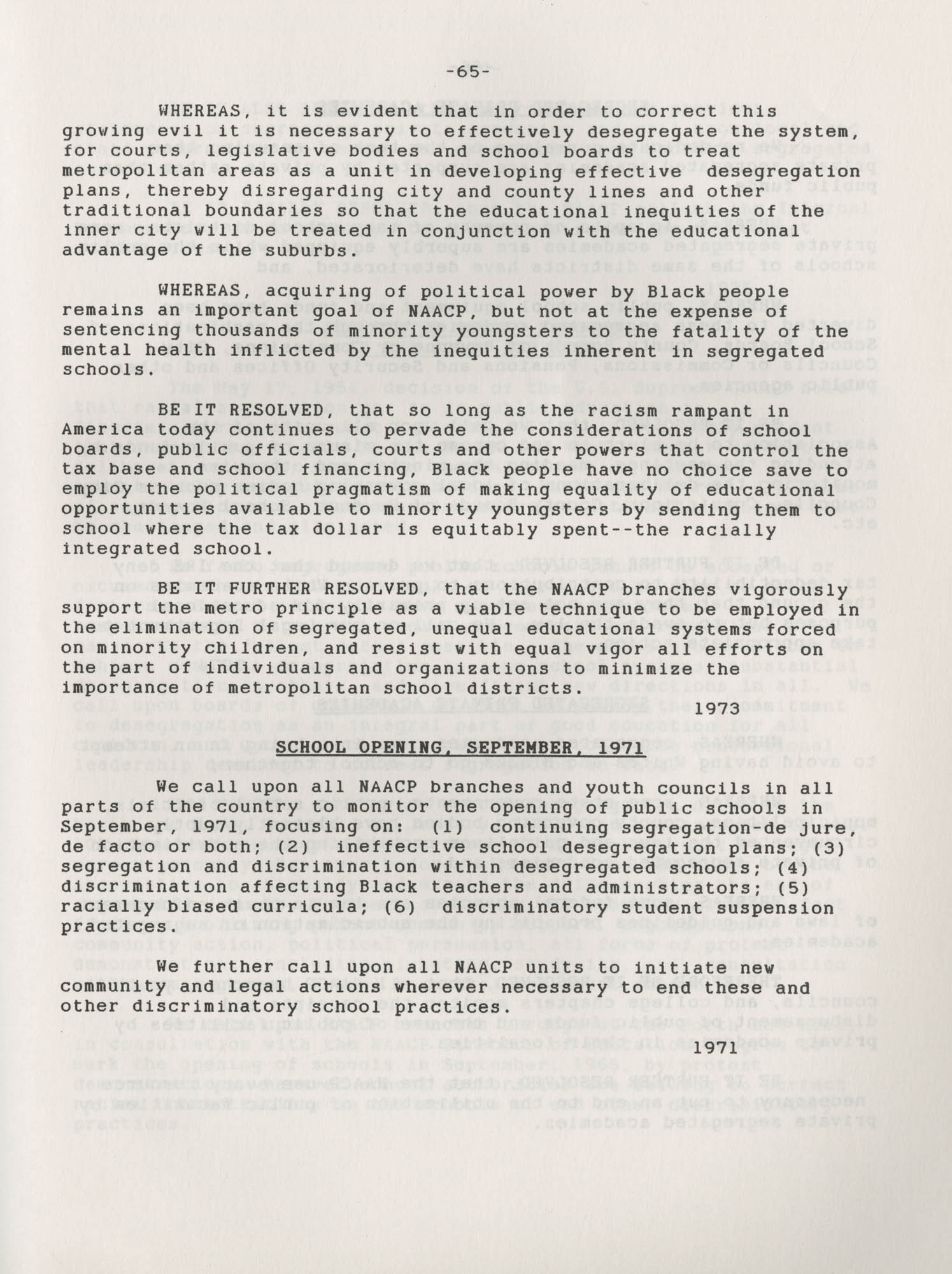 NAACP Resolutions on Education, 1970-1989, Index to Education Resolutions, Page 65