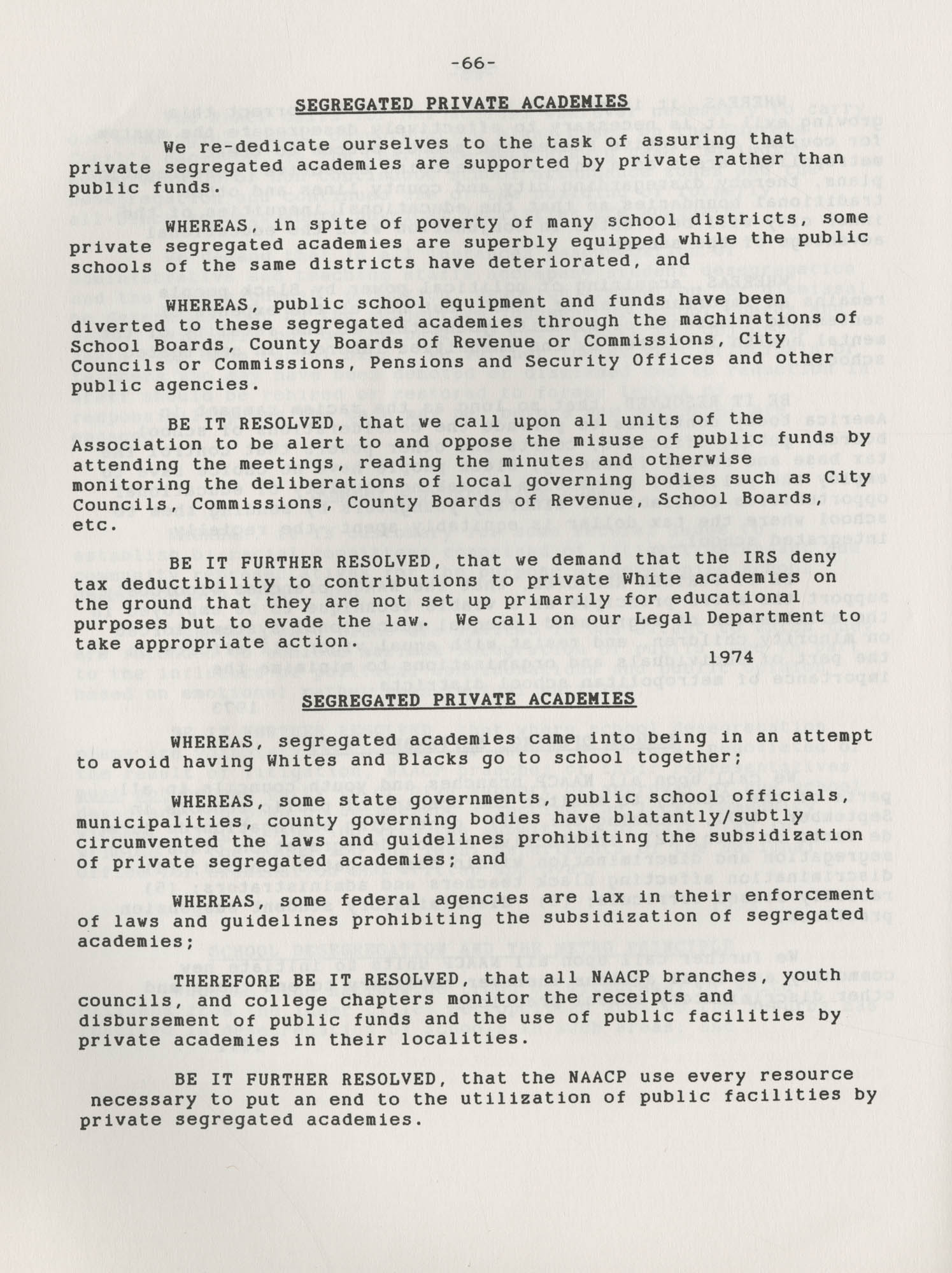 NAACP Resolutions on Education, 1970-1989, Index to Education Resolutions, Page 66