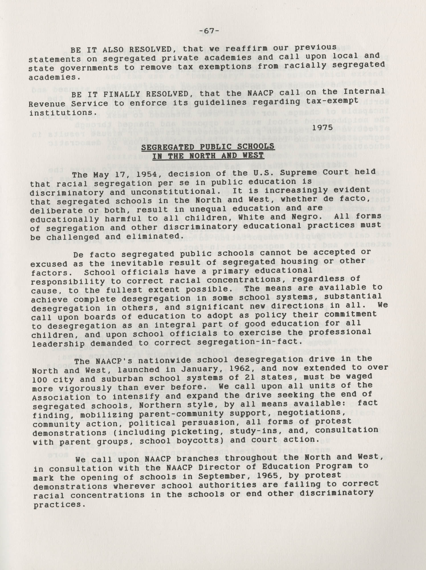 NAACP Resolutions on Education, 1970-1989, Index to Education Resolutions, Page 67