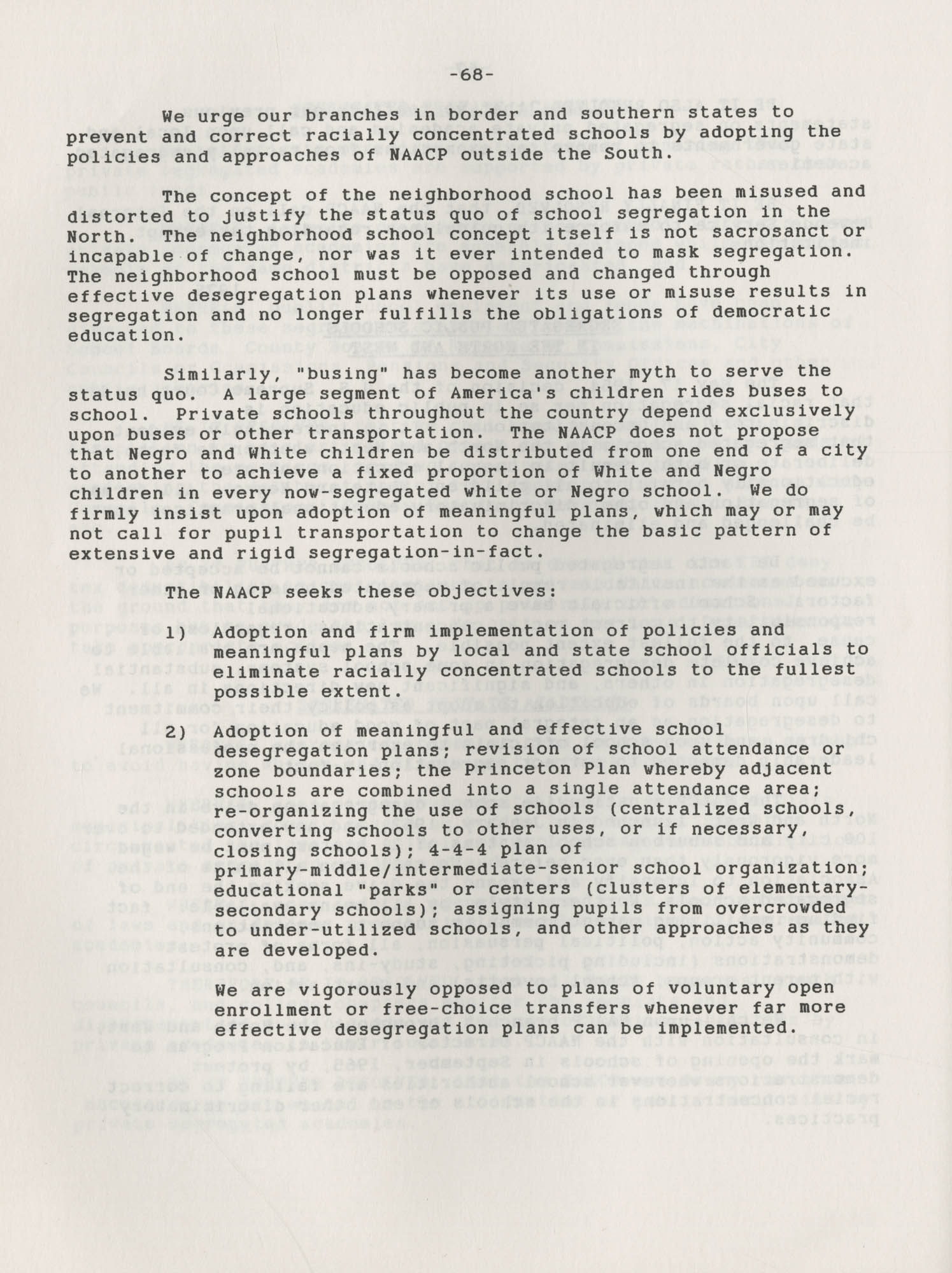 NAACP Resolutions on Education, 1970-1989, Index to Education Resolutions, Page 68