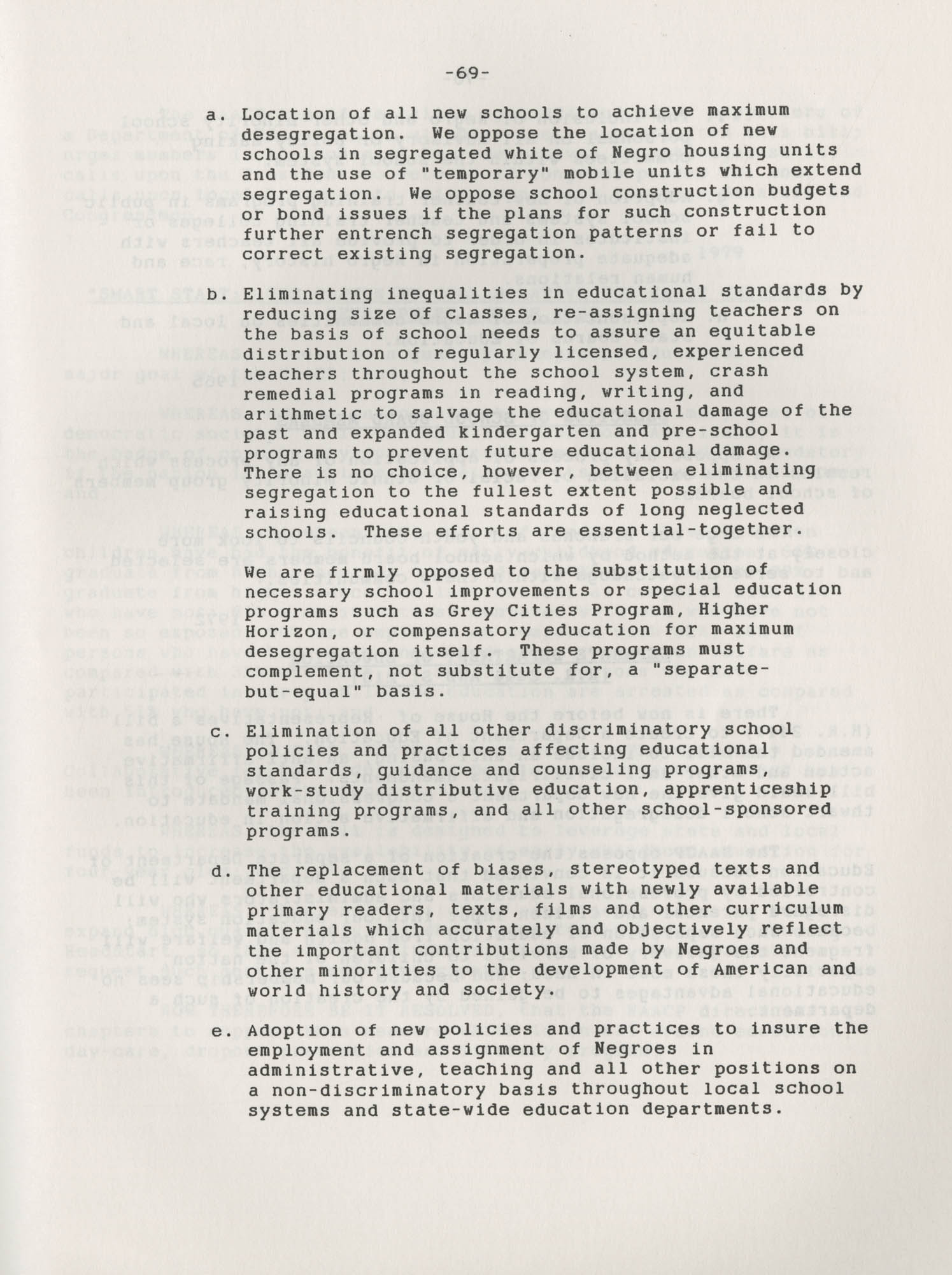 NAACP Resolutions on Education, 1970-1989, Index to Education Resolutions, Page 69