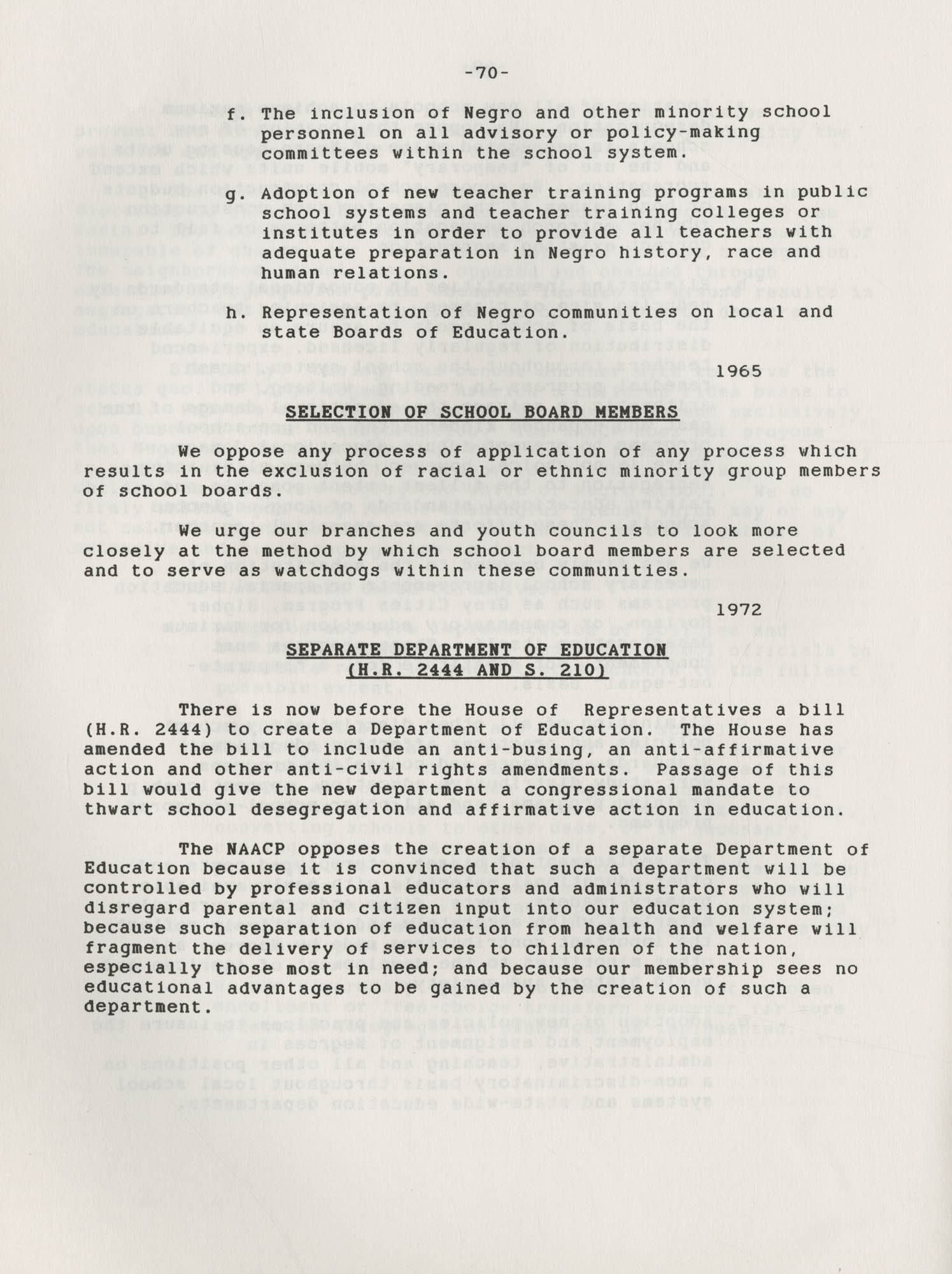 NAACP Resolutions on Education, 1970-1989, Index to Education Resolutions, Page 70