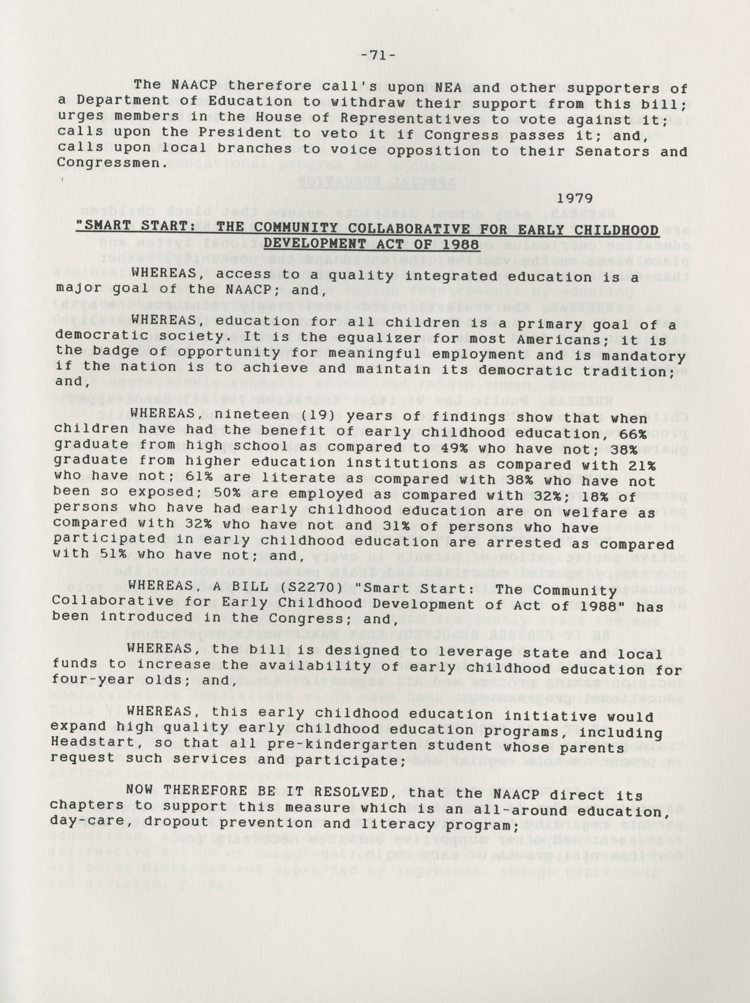 NAACP Resolutions on Education, 1970-1989, Index to Education Resolutions, Page 71