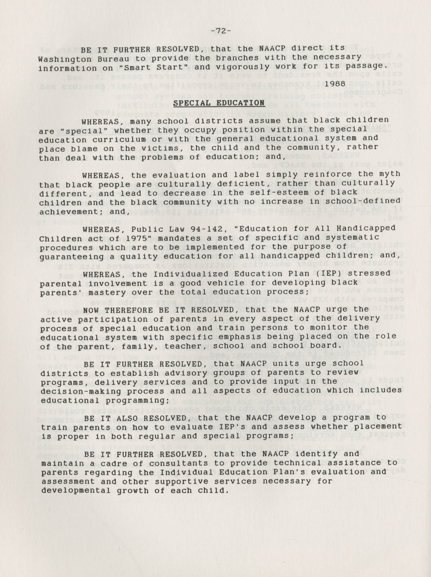 NAACP Resolutions on Education, 1970-1989, Index to Education Resolutions, Page 72