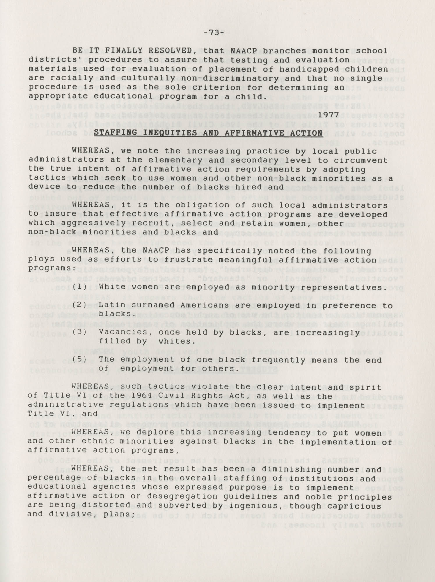 NAACP Resolutions on Education, 1970-1989, Index to Education Resolutions, Page 73