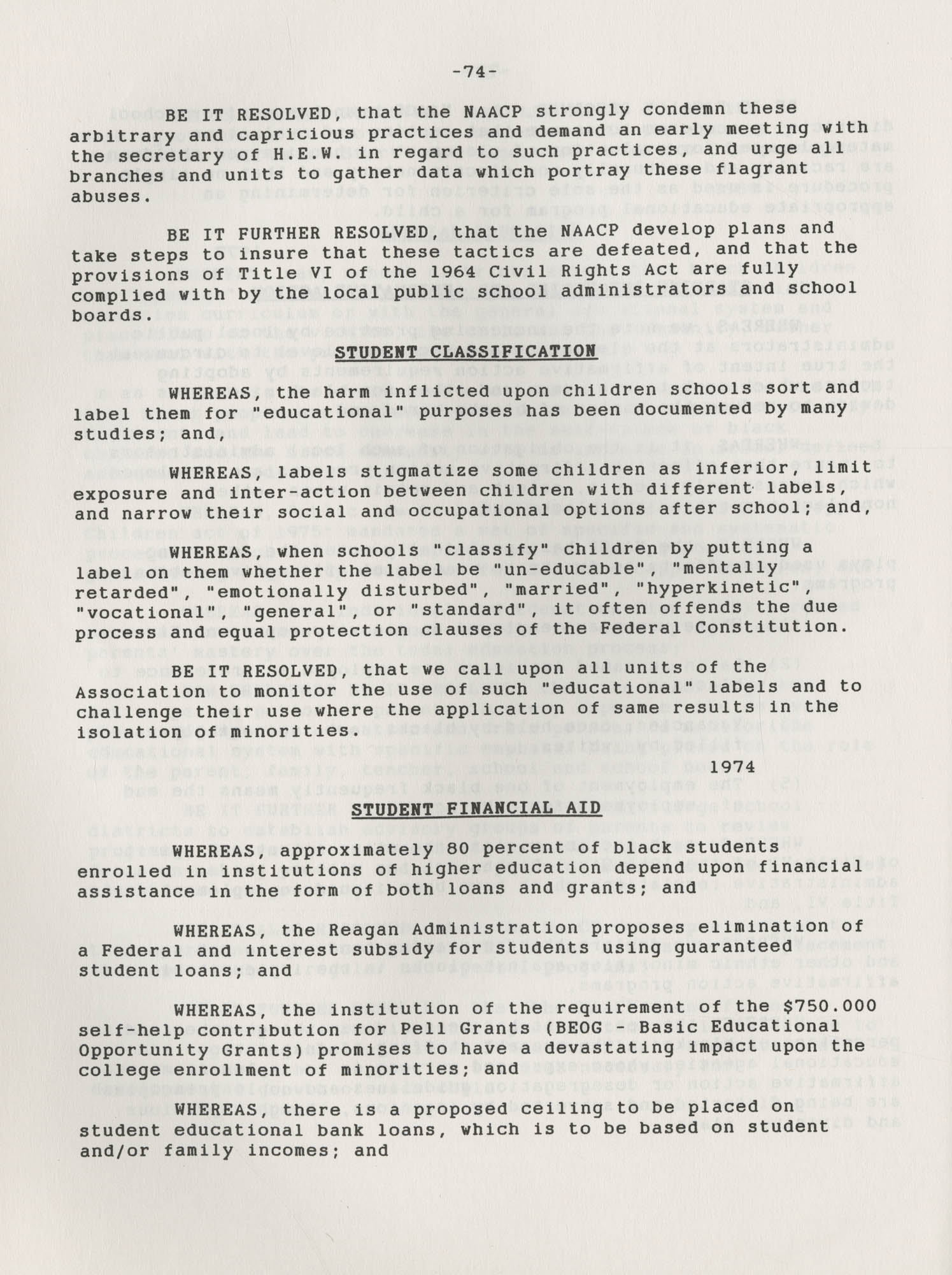 NAACP Resolutions on Education, 1970-1989, Index to Education Resolutions, Page 74