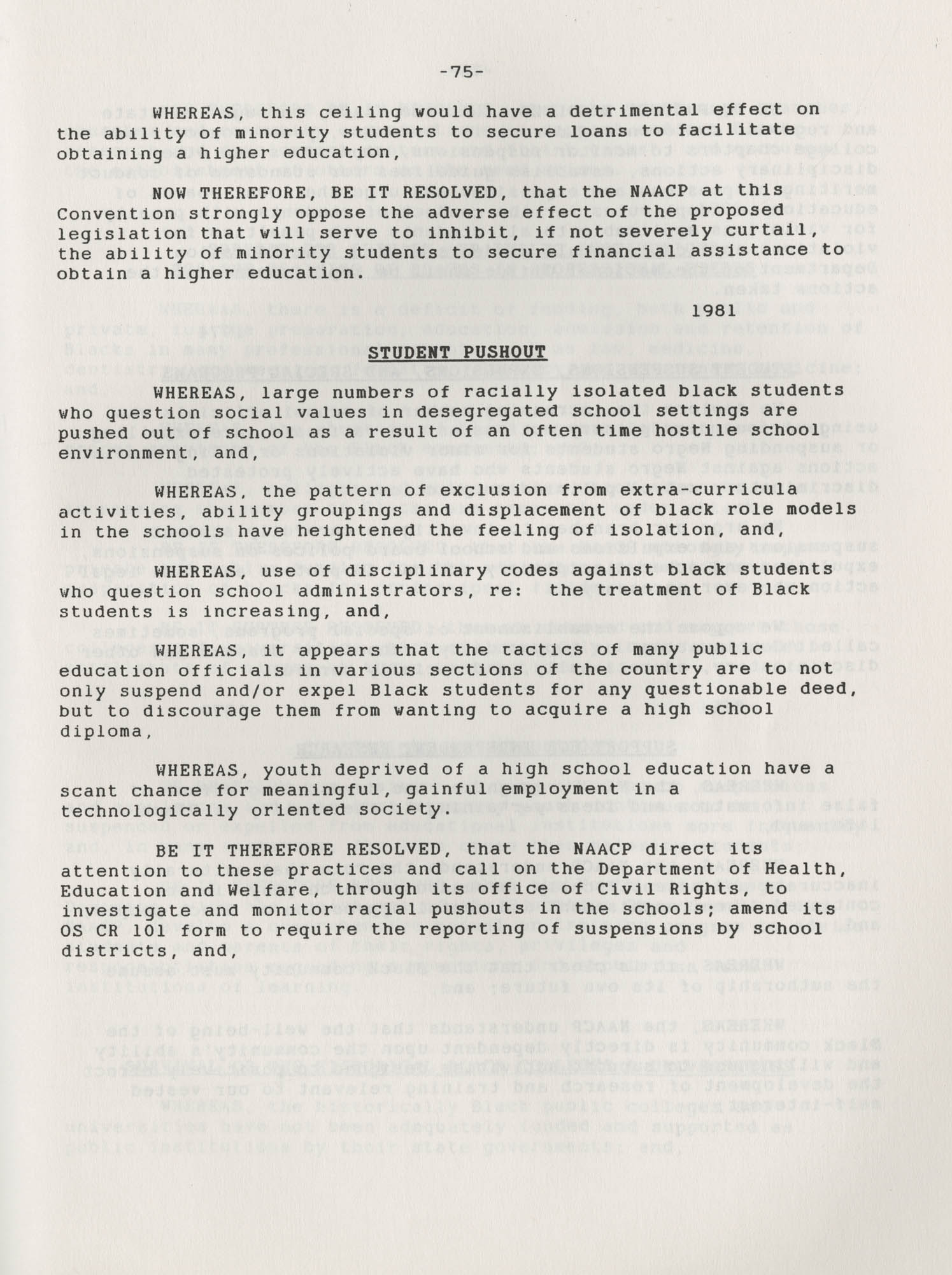 NAACP Resolutions on Education, 1970-1989, Index to Education Resolutions, Page 75