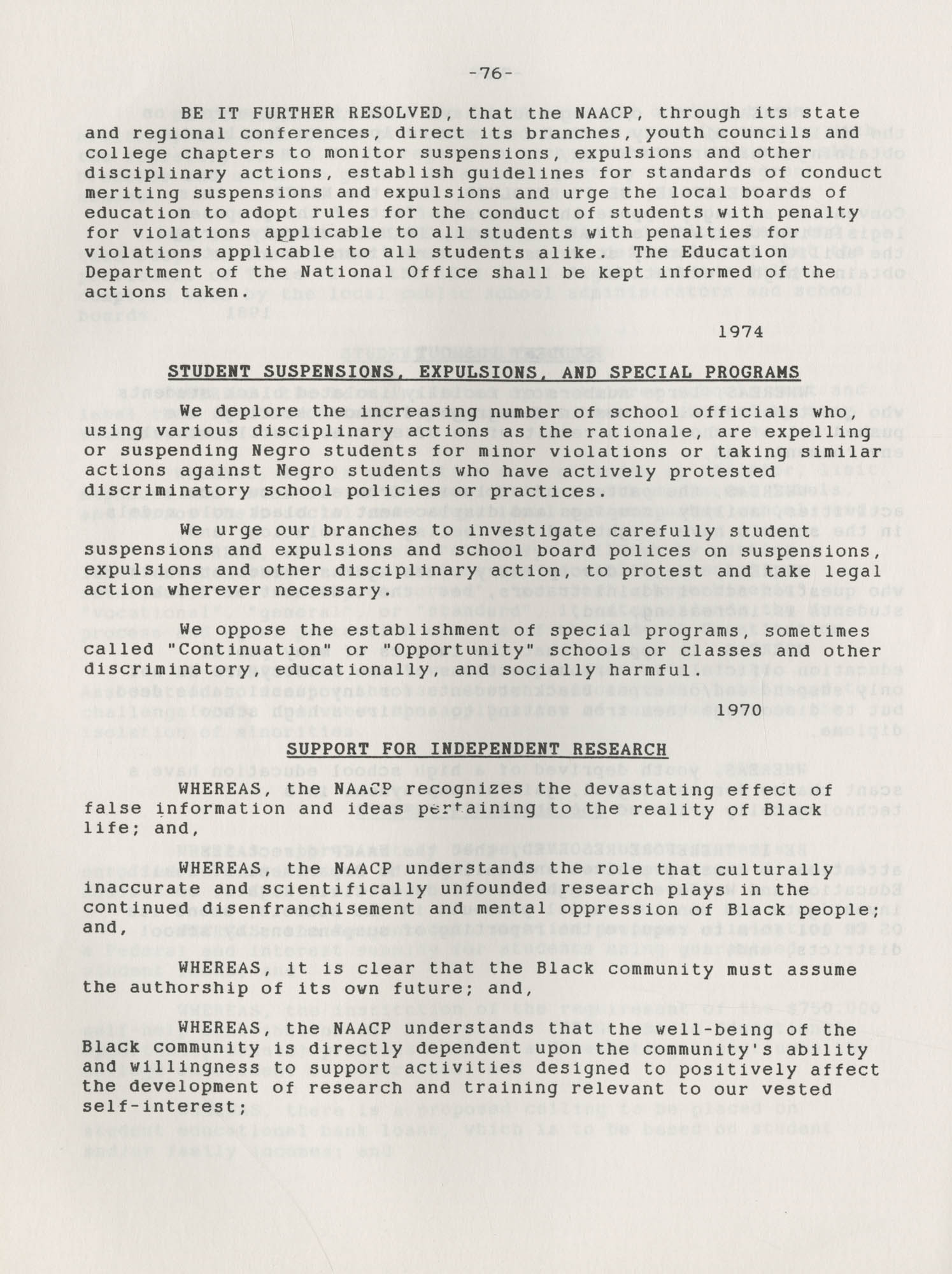 NAACP Resolutions on Education, 1970-1989, Index to Education Resolutions, Page 76