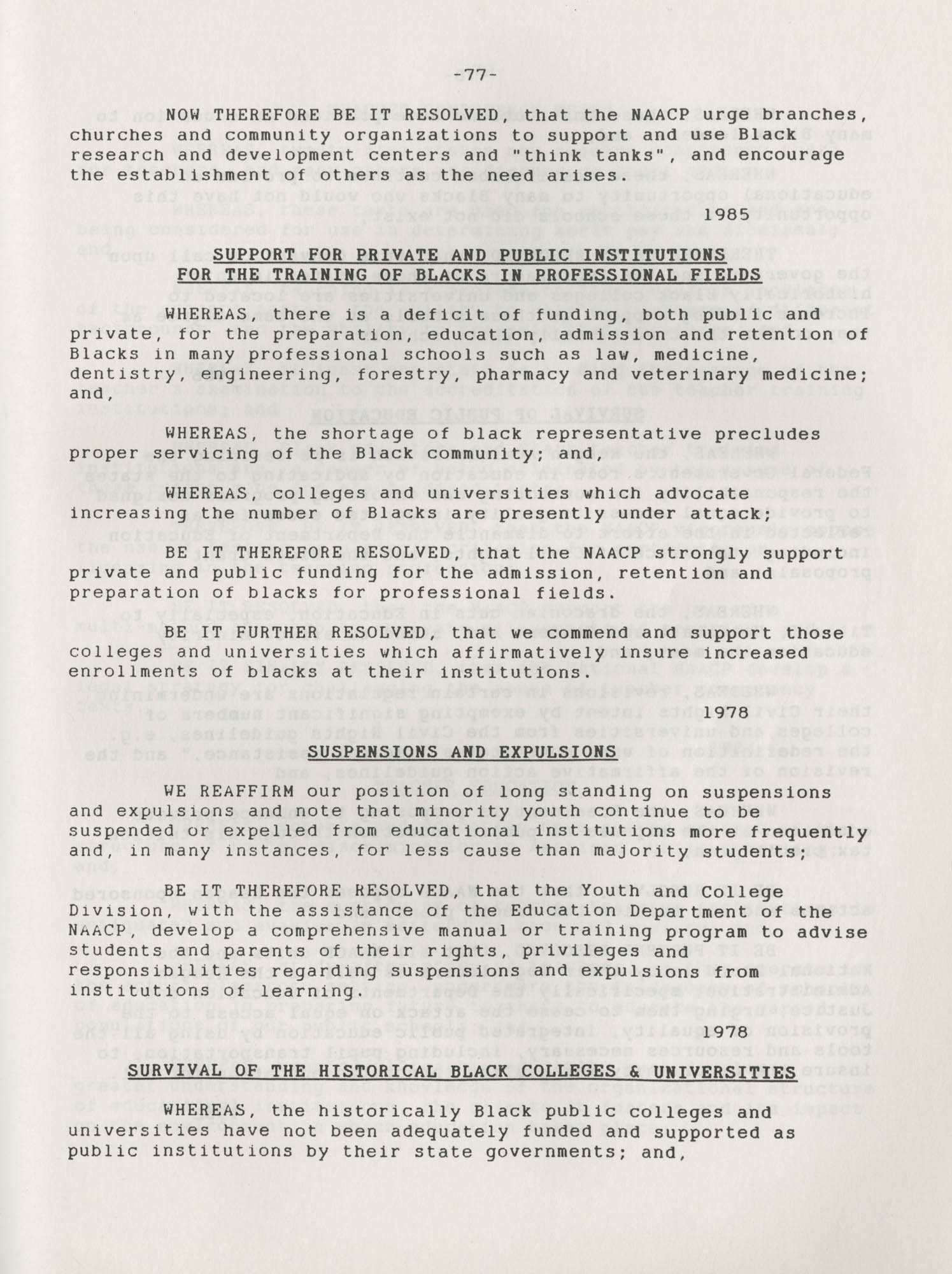 NAACP Resolutions on Education, 1970-1989, Index to Education Resolutions, Page 77