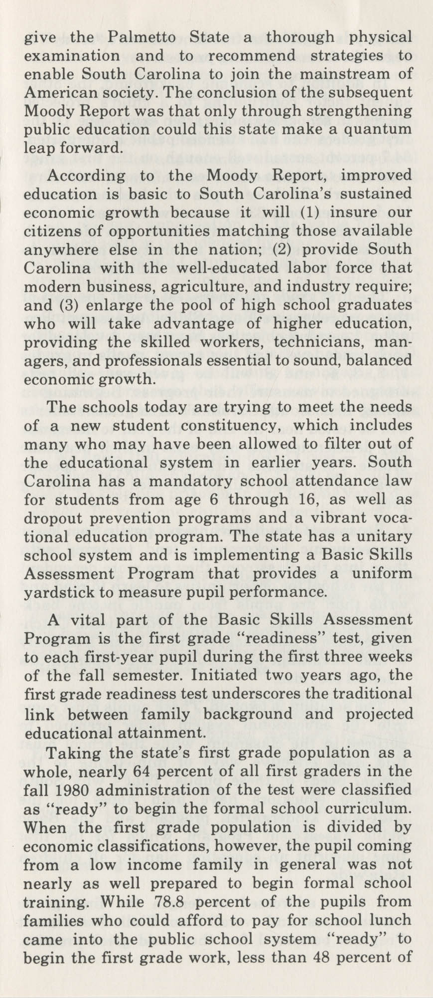 Education-Economy, Inseparable Forces in South Carolina's Past and Future, Page 6