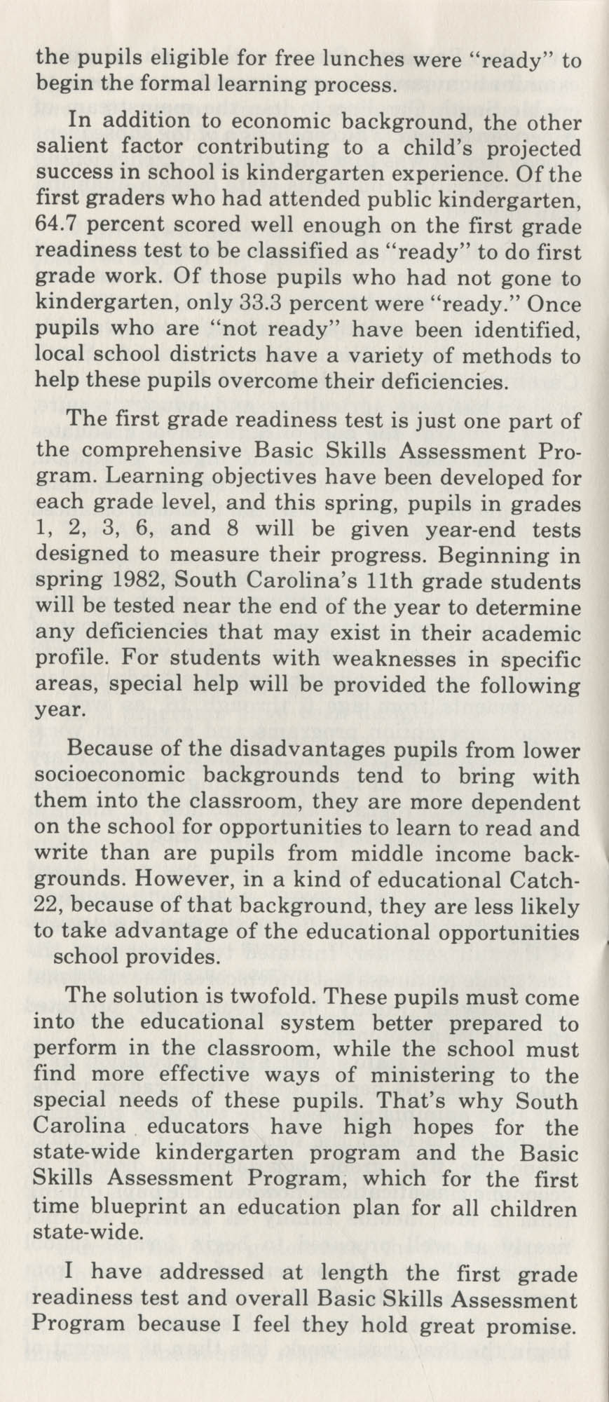 Education-Economy, Inseparable Forces in South Carolina's Past and Future, Page 7