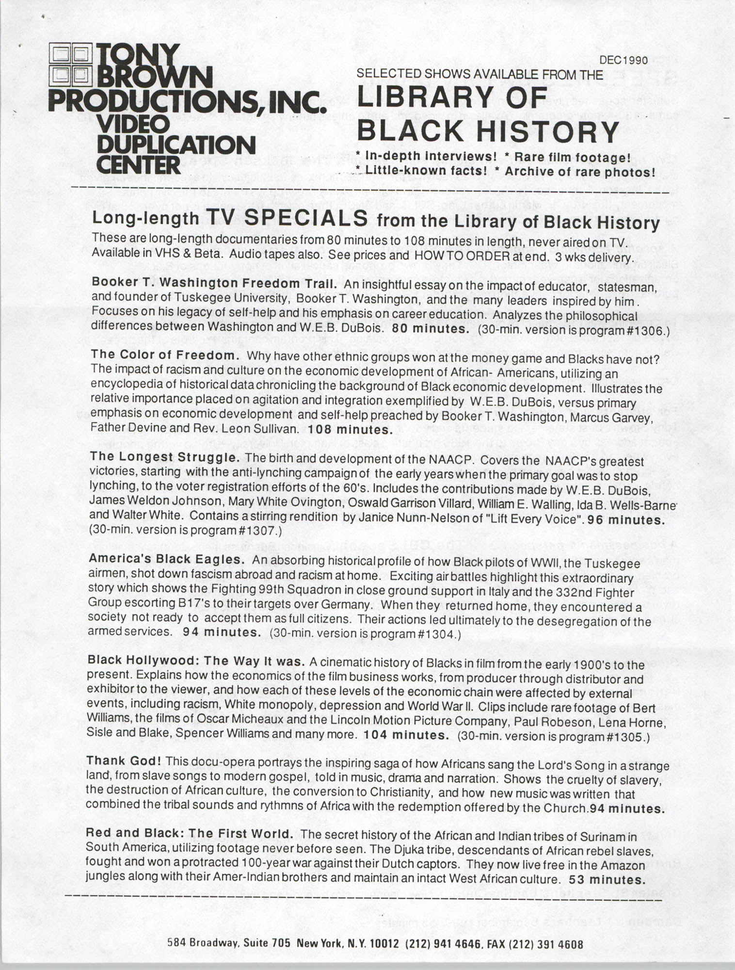 Selected Shows Available from the Library of Black History, December 1990, Page 1