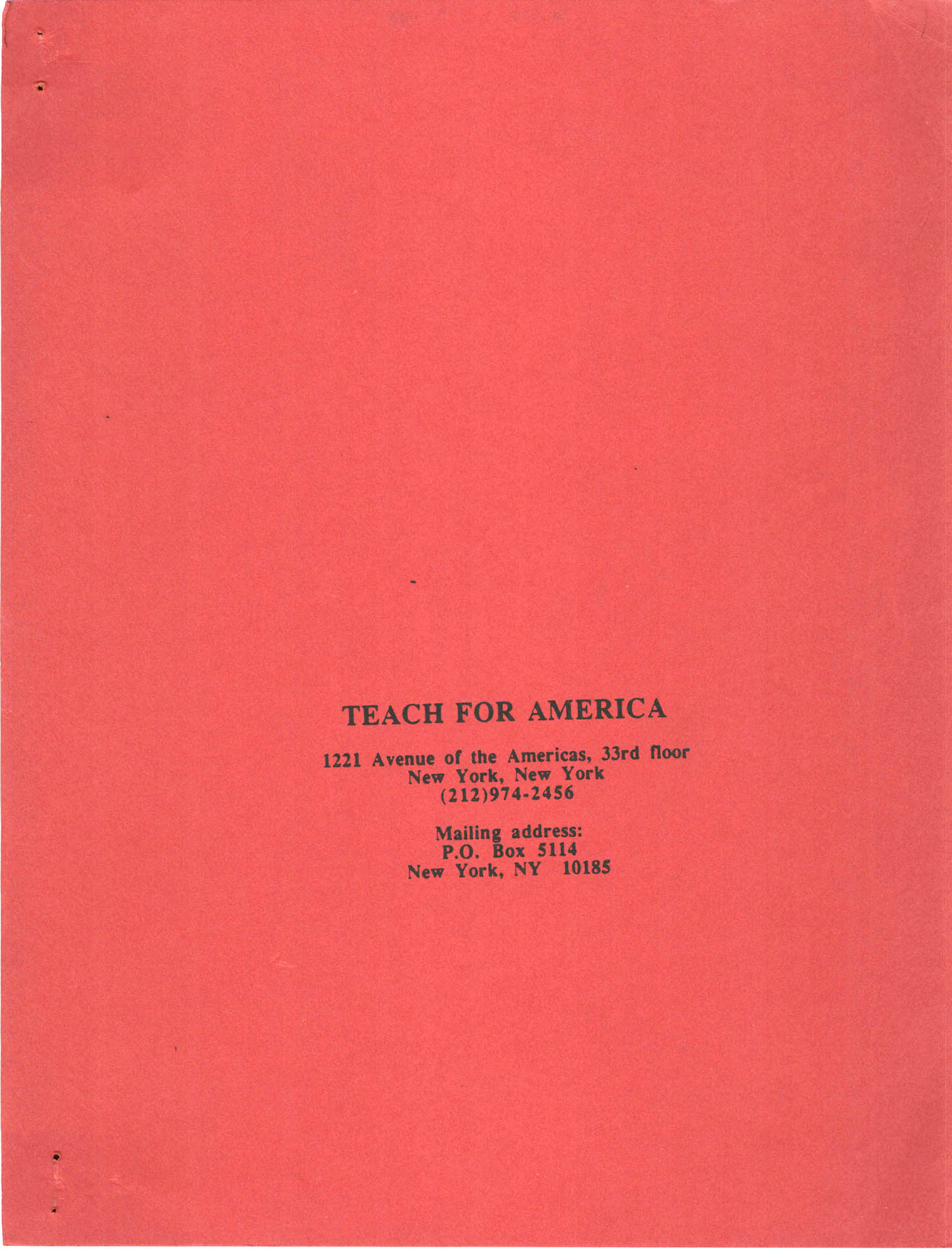 Teach for America, Front Cover