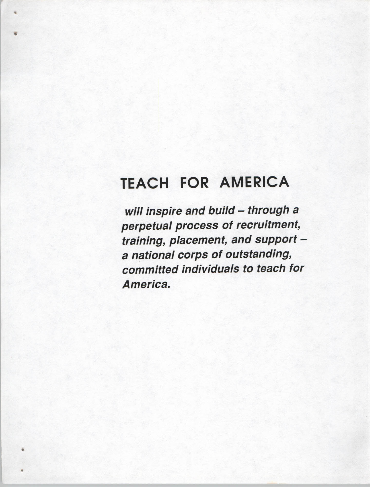Teach for America, Introduction, Page 1