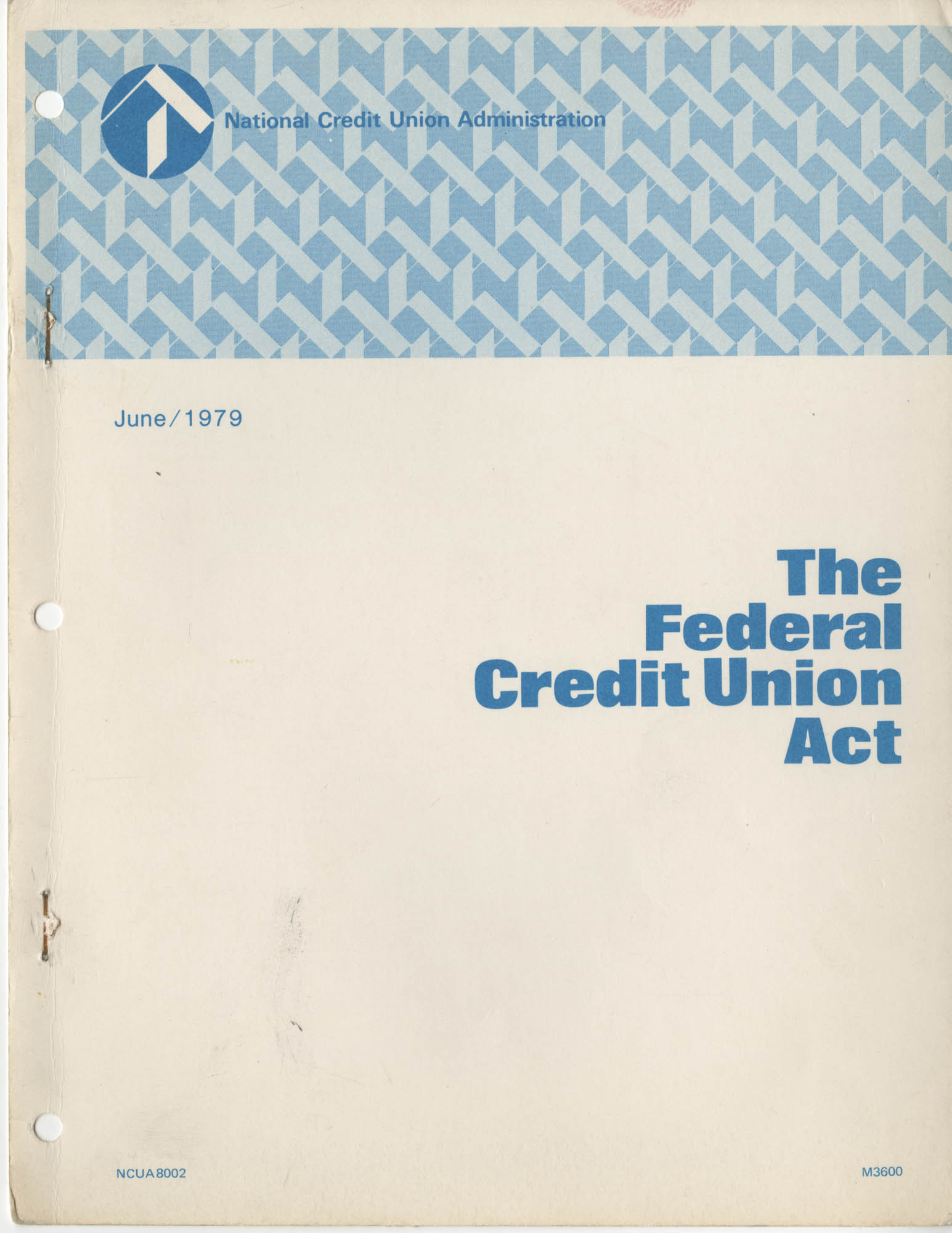 The Federal Credit Union Act, June 1979, Front Cover