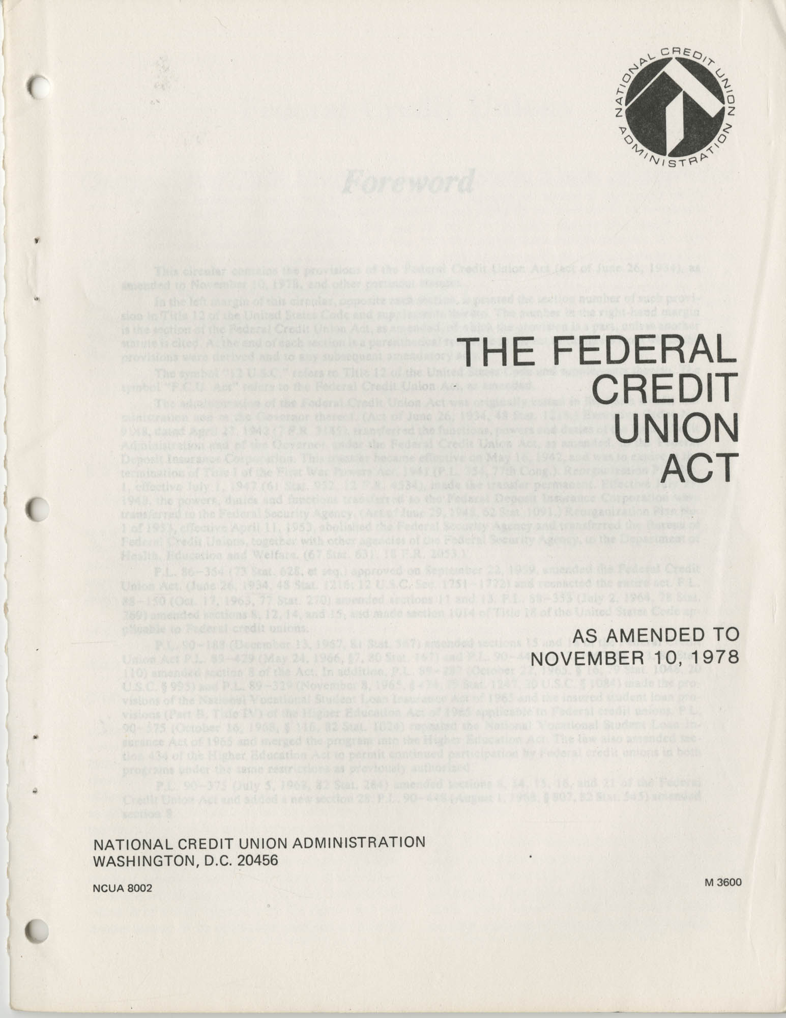 The Federal Credit Union Act, June 1979, Title Page